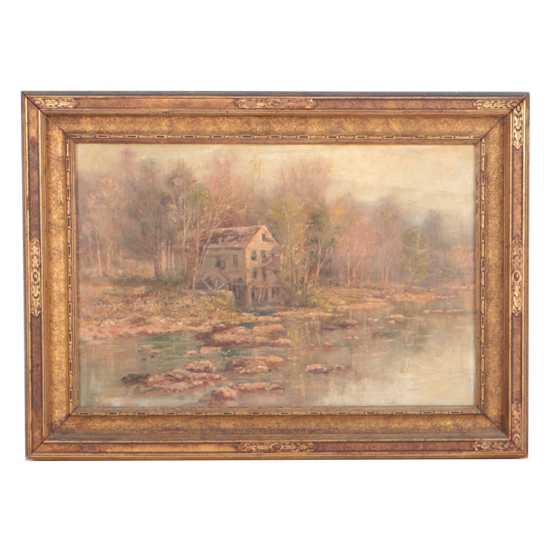 Thomas Corwin Lindsay Autumnal Landscape Oil Painting