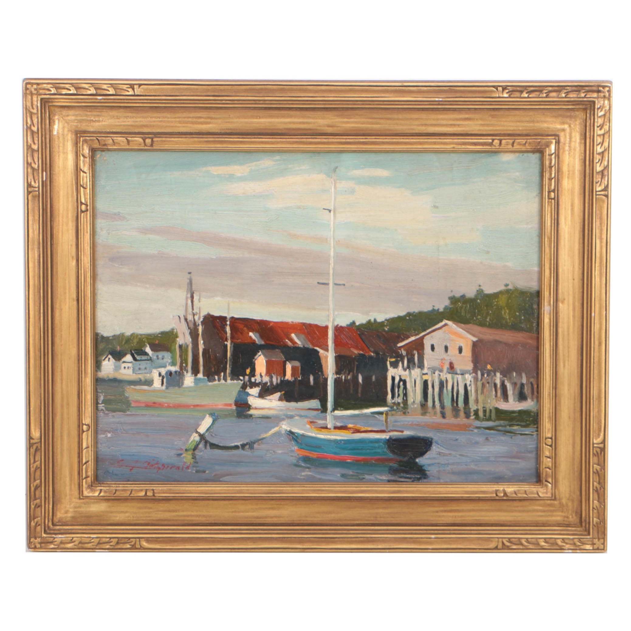 "Edmond J. Fitzgerald Oil Painting ""The Sailboat"""