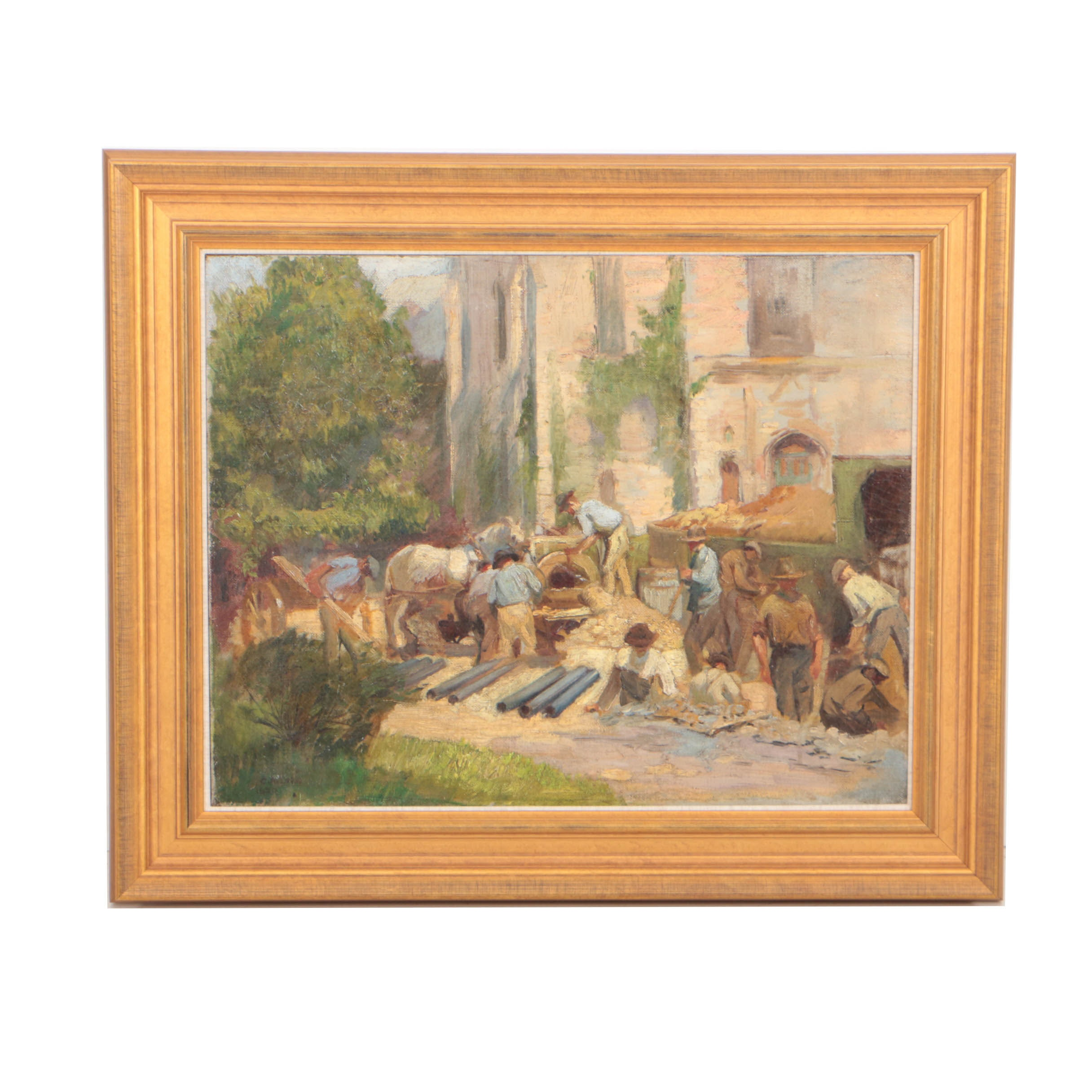 """Caroline Lord 1920 Oil Painting """"The Workmen"""""""