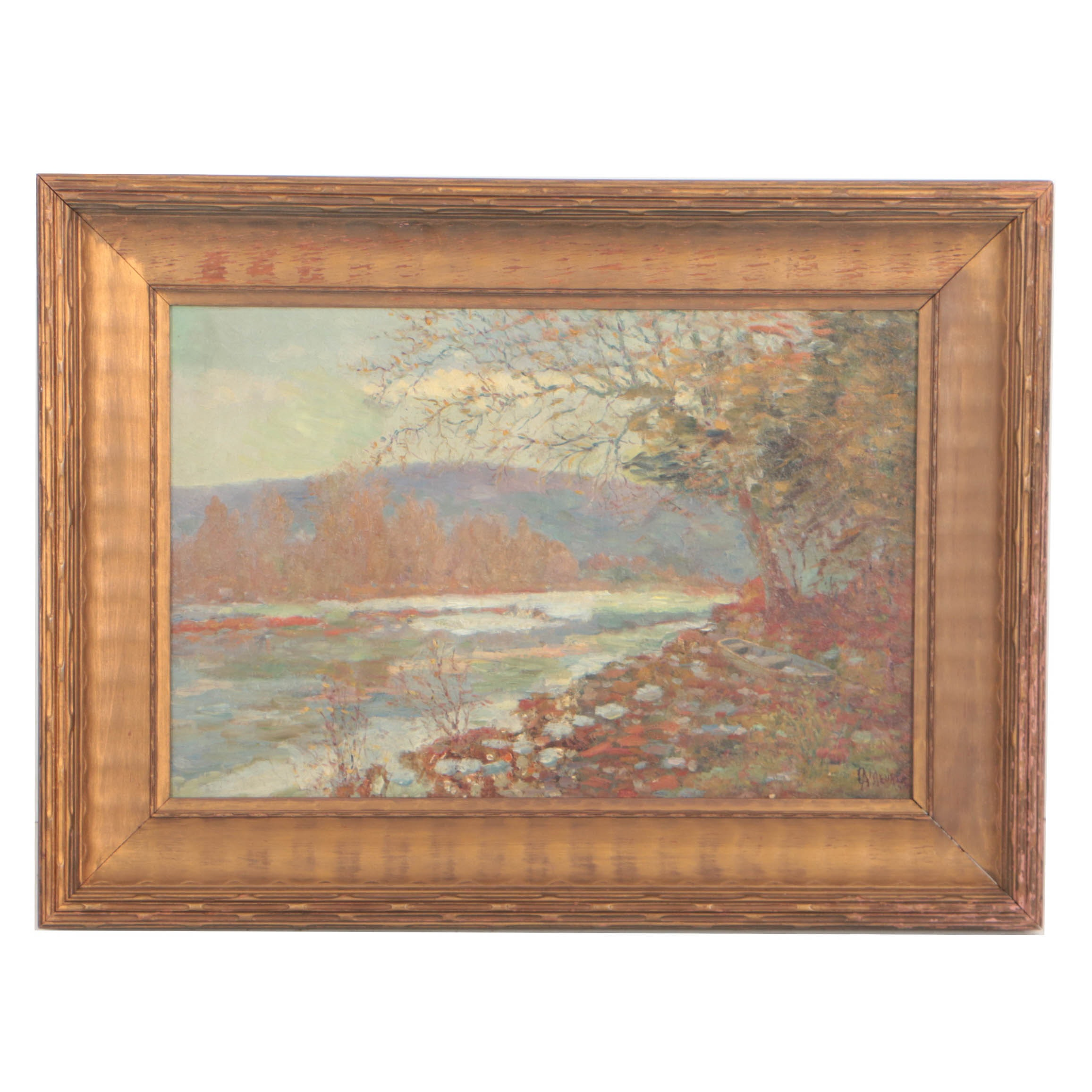 Charles Meurer Early 20th Century Impressionist Landscape Oil Painting