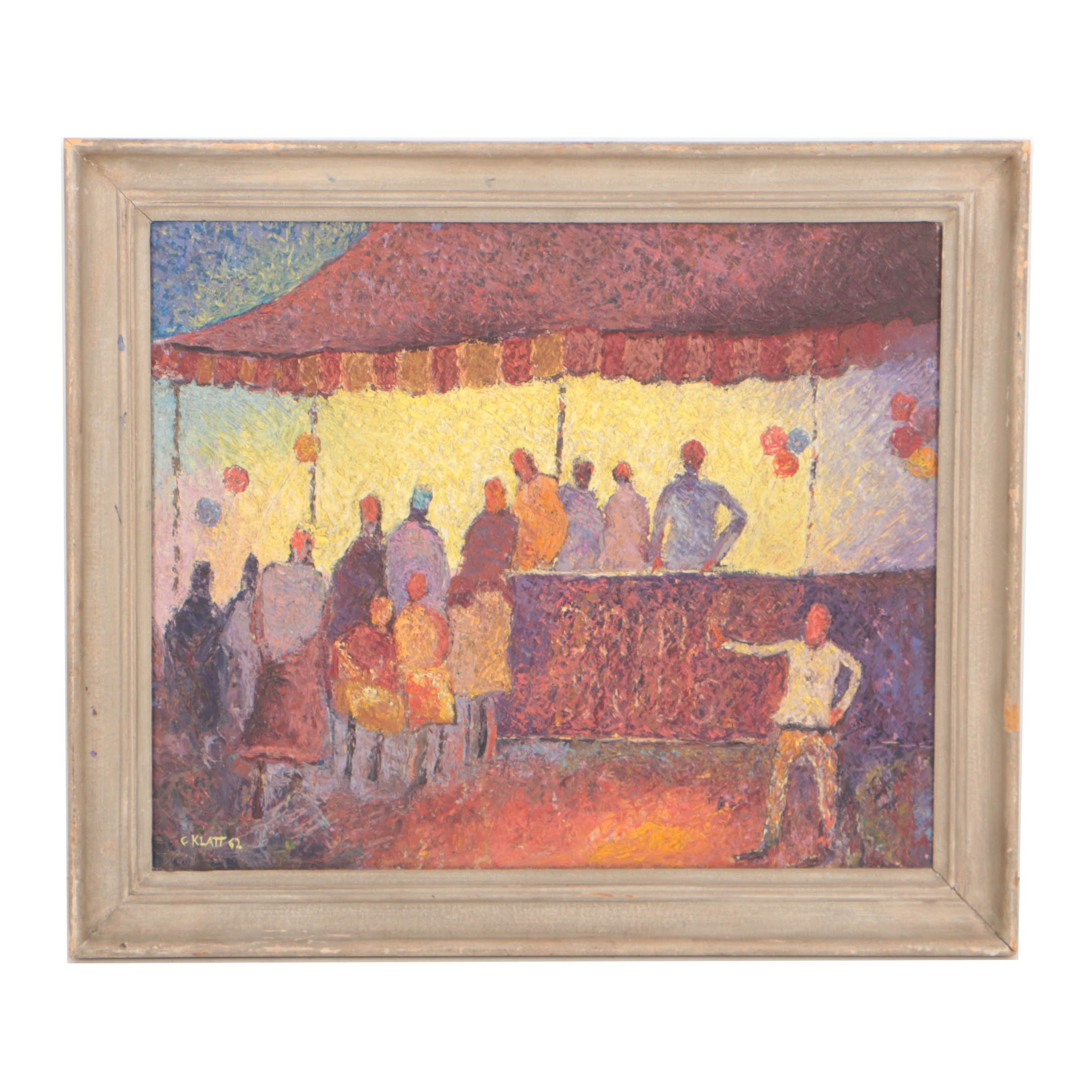 "Clarence Klatt 1962 Oil Painting ""At the Fair"""