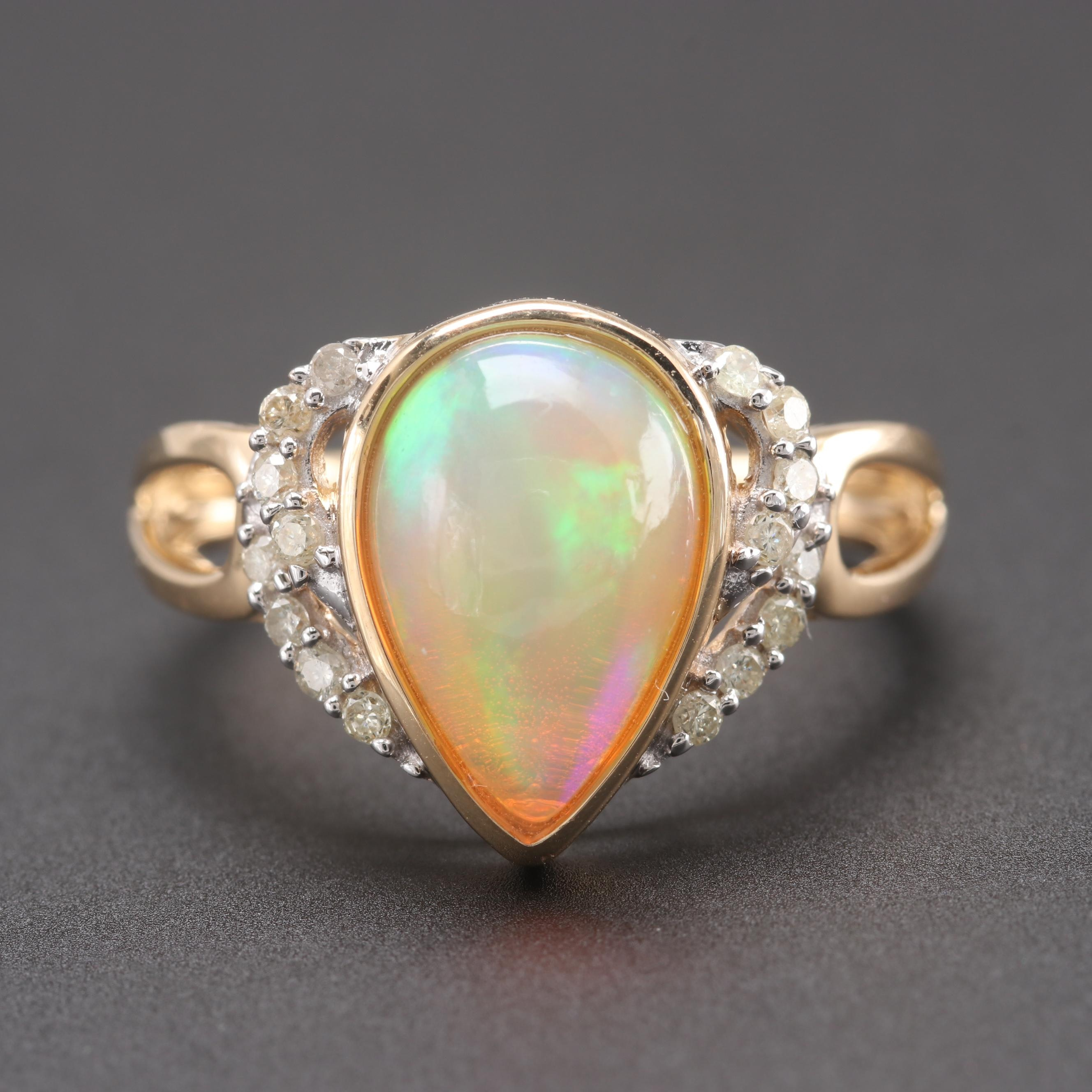 14K Yellow Gold Jelly Opal and Diamond Ring