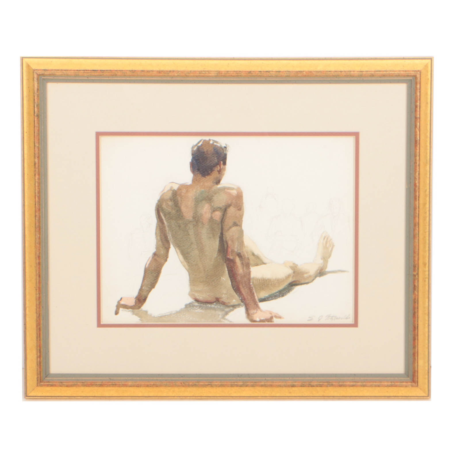 Edmond J. Fitzgerald Watercolor, Seated Nude Figure