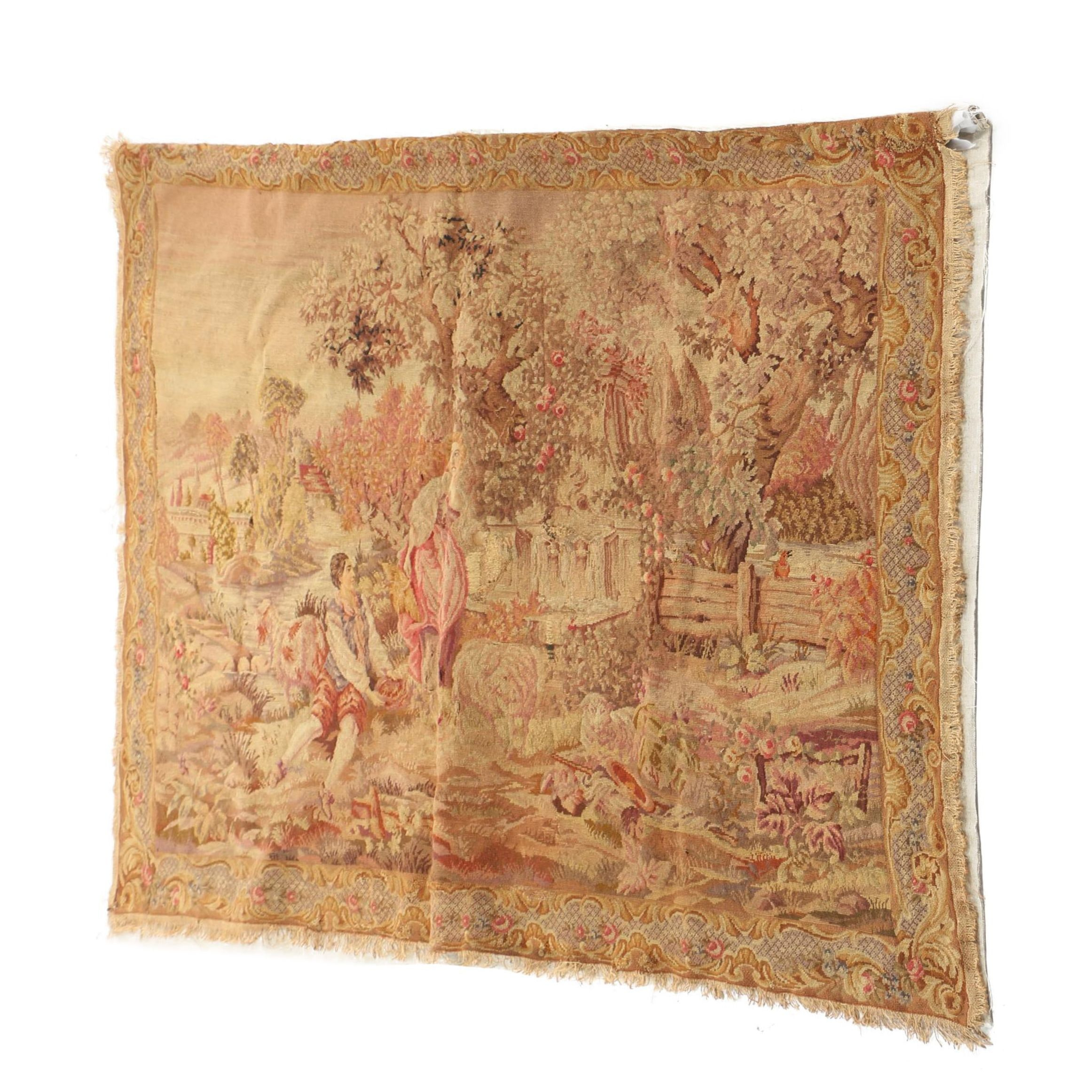 Handwoven Antique Pastoral Tapestry