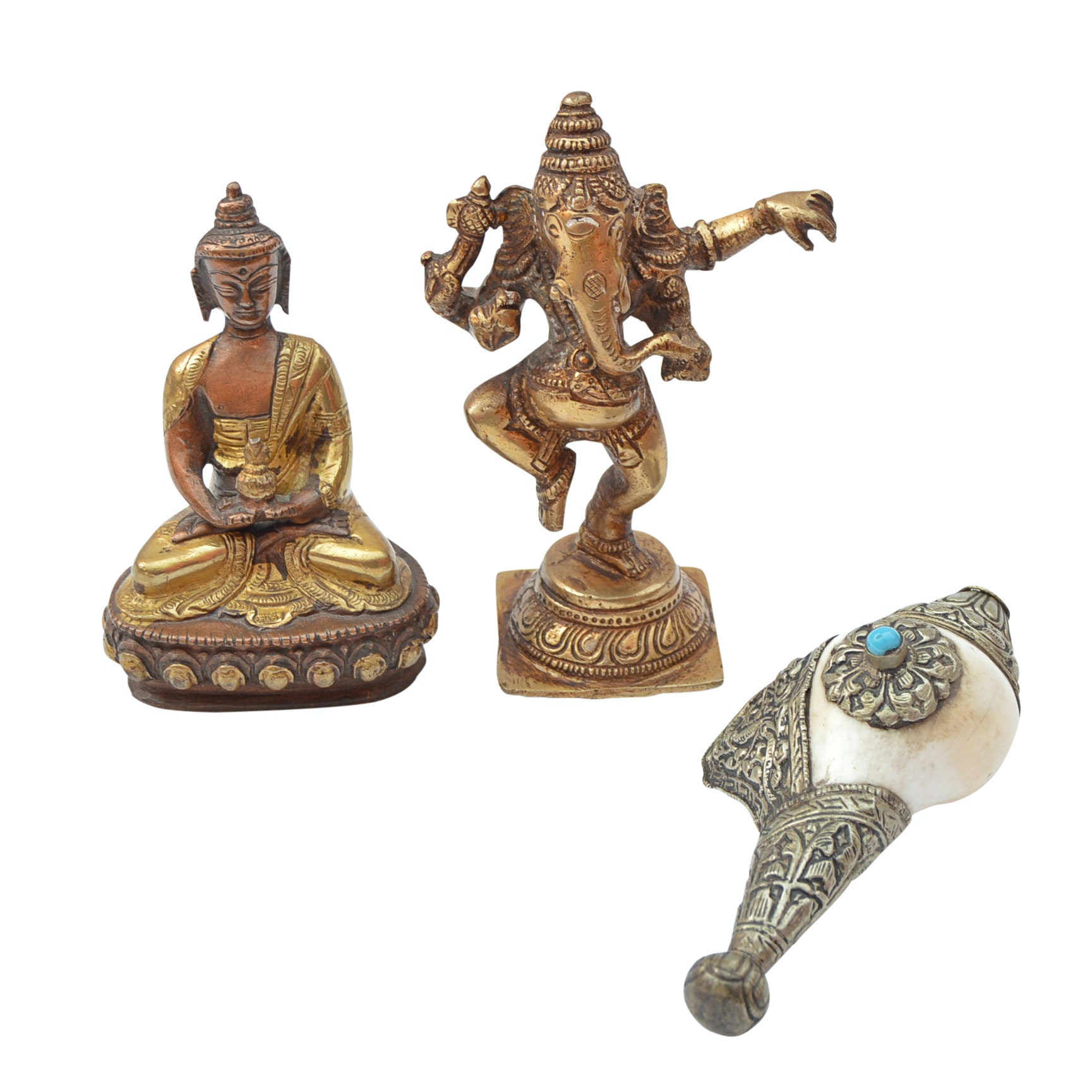 Asian Brass and Shell Religious Figurines