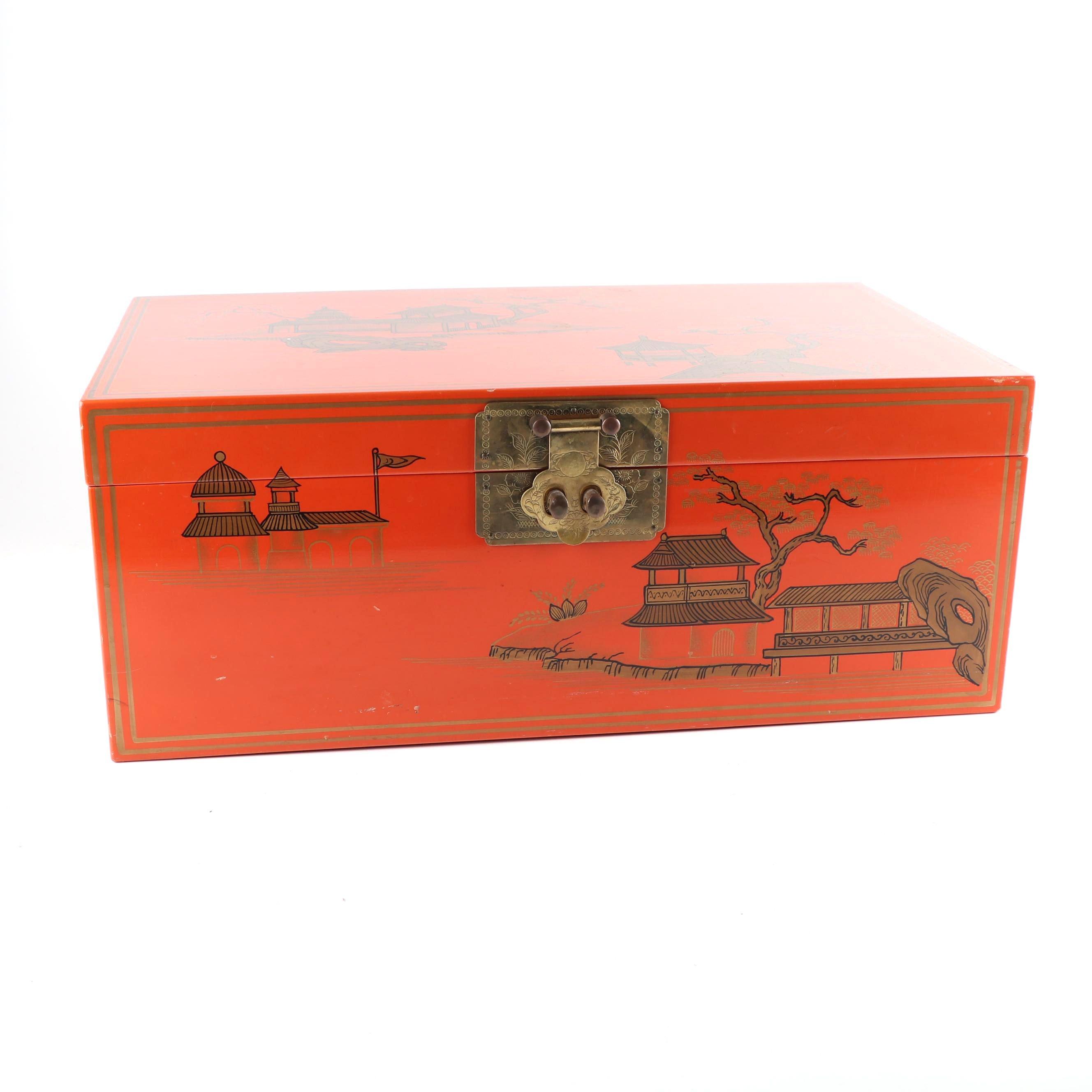 Chinese Orange Lacquered Storage Box ...