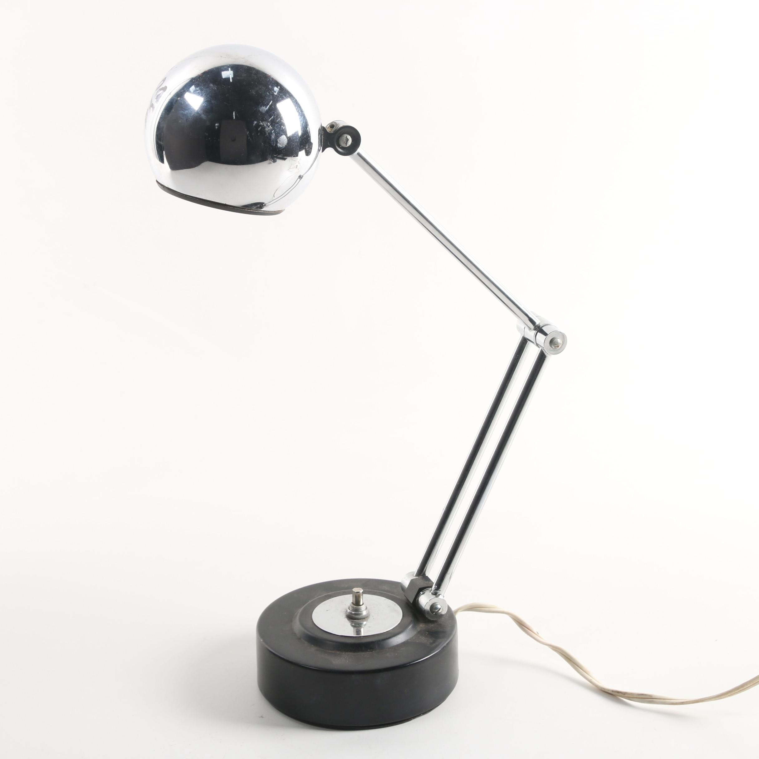 1970s Adjustable Arm Chrome Desk Lamp