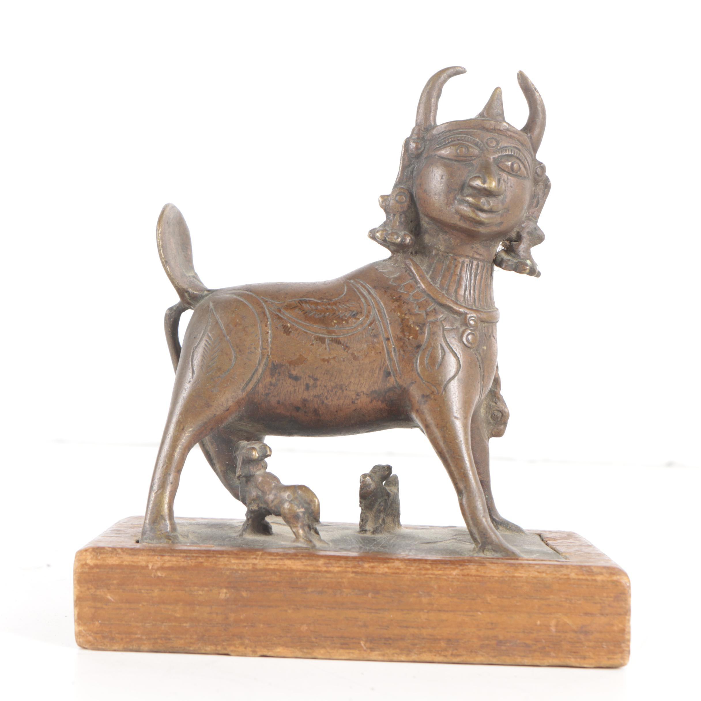 Brass Sculpture of Kamadhenu Hindu Bovine Goddess