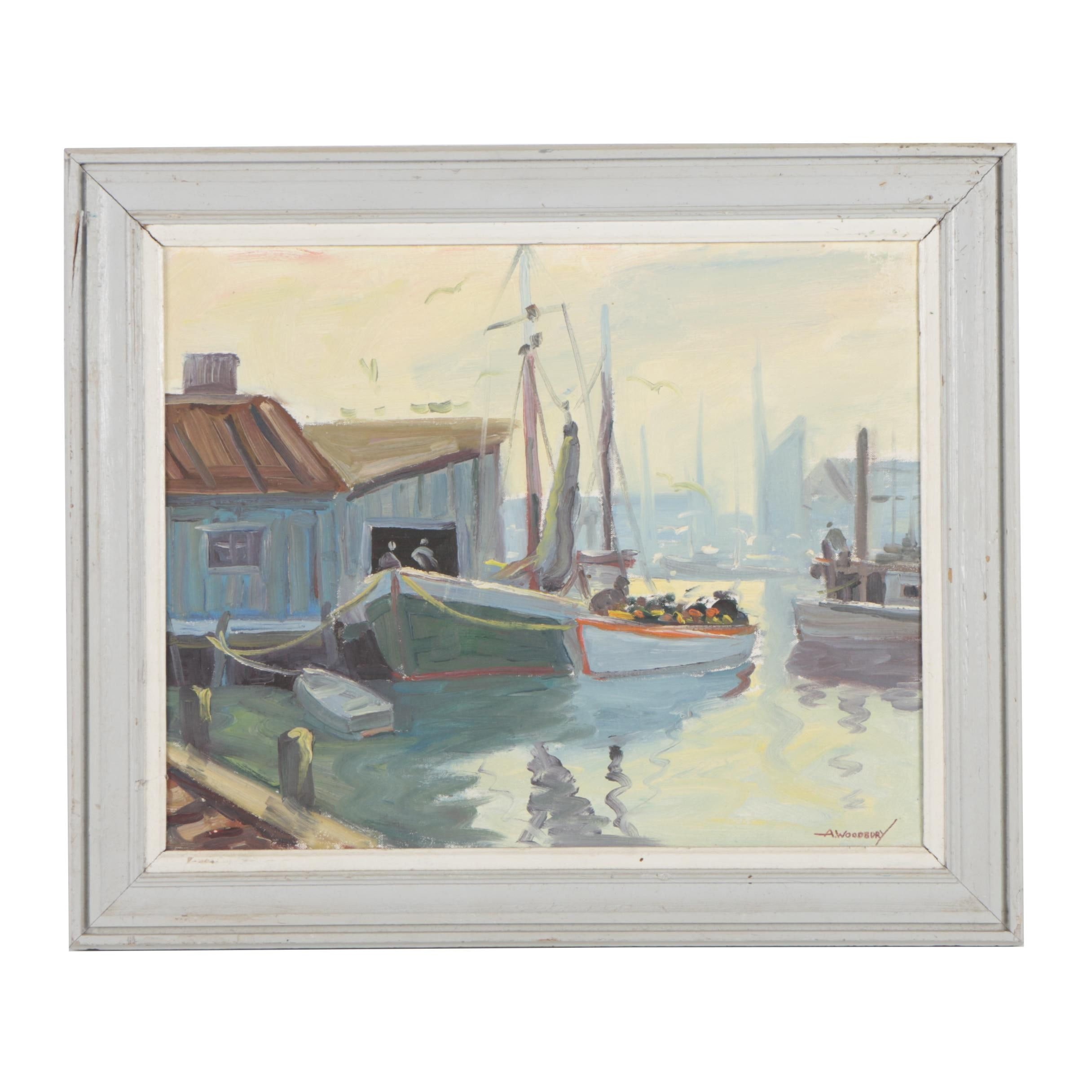 A. Woodbury 1981 Nautical Oil Painting