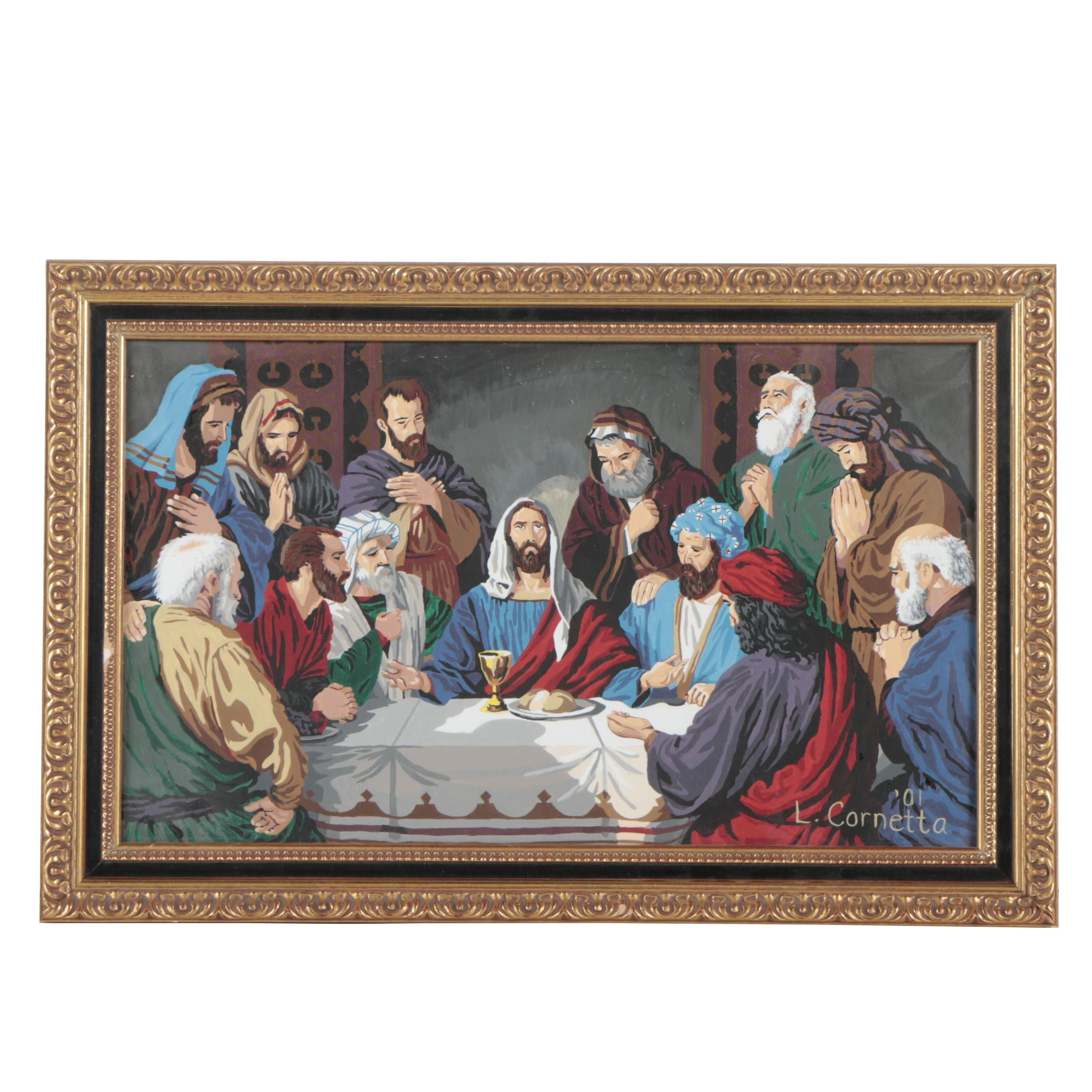 L. Cornetta Last Supper Gouache Painting