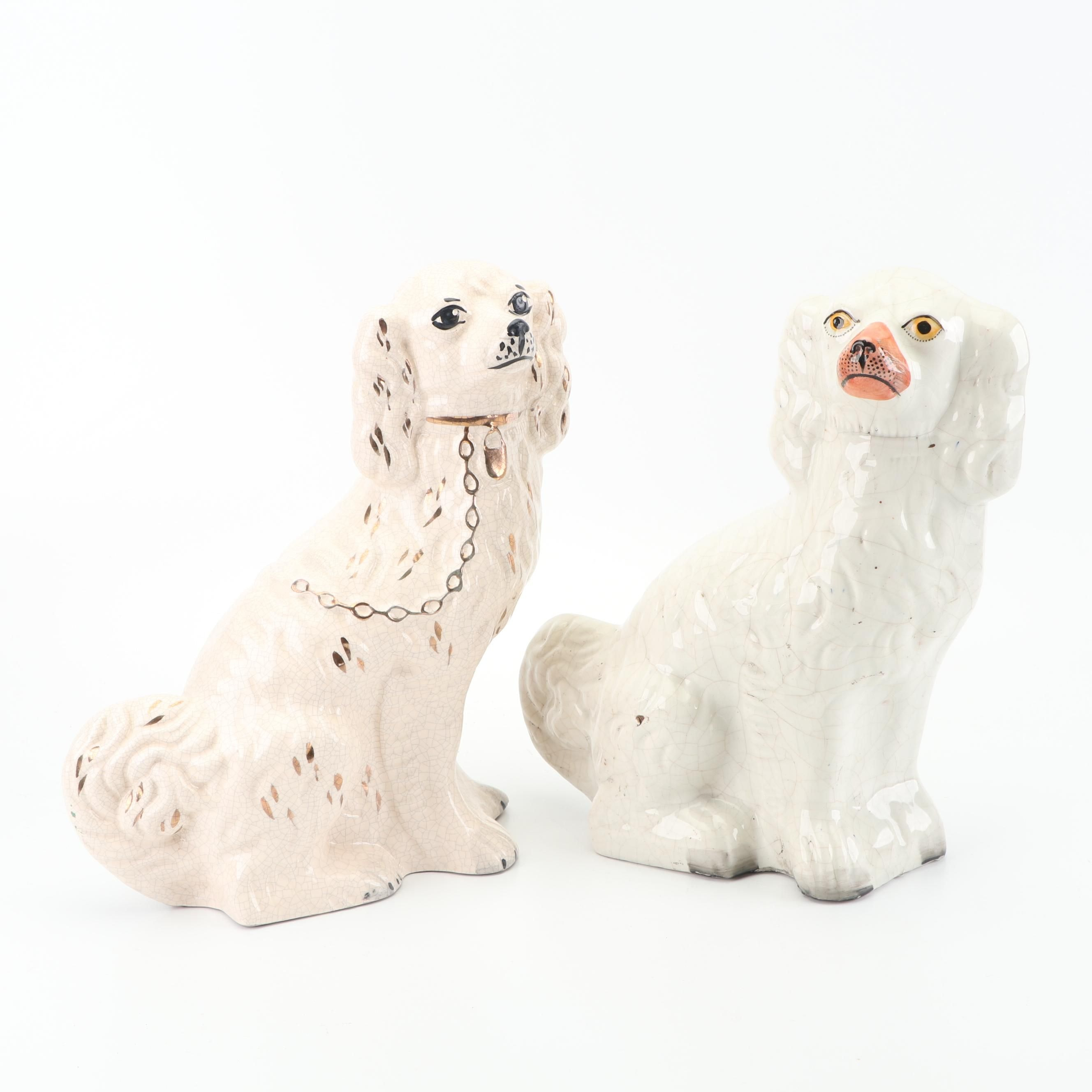 Vintage Staffordshire Style Porcelain Spaniel Figurines
