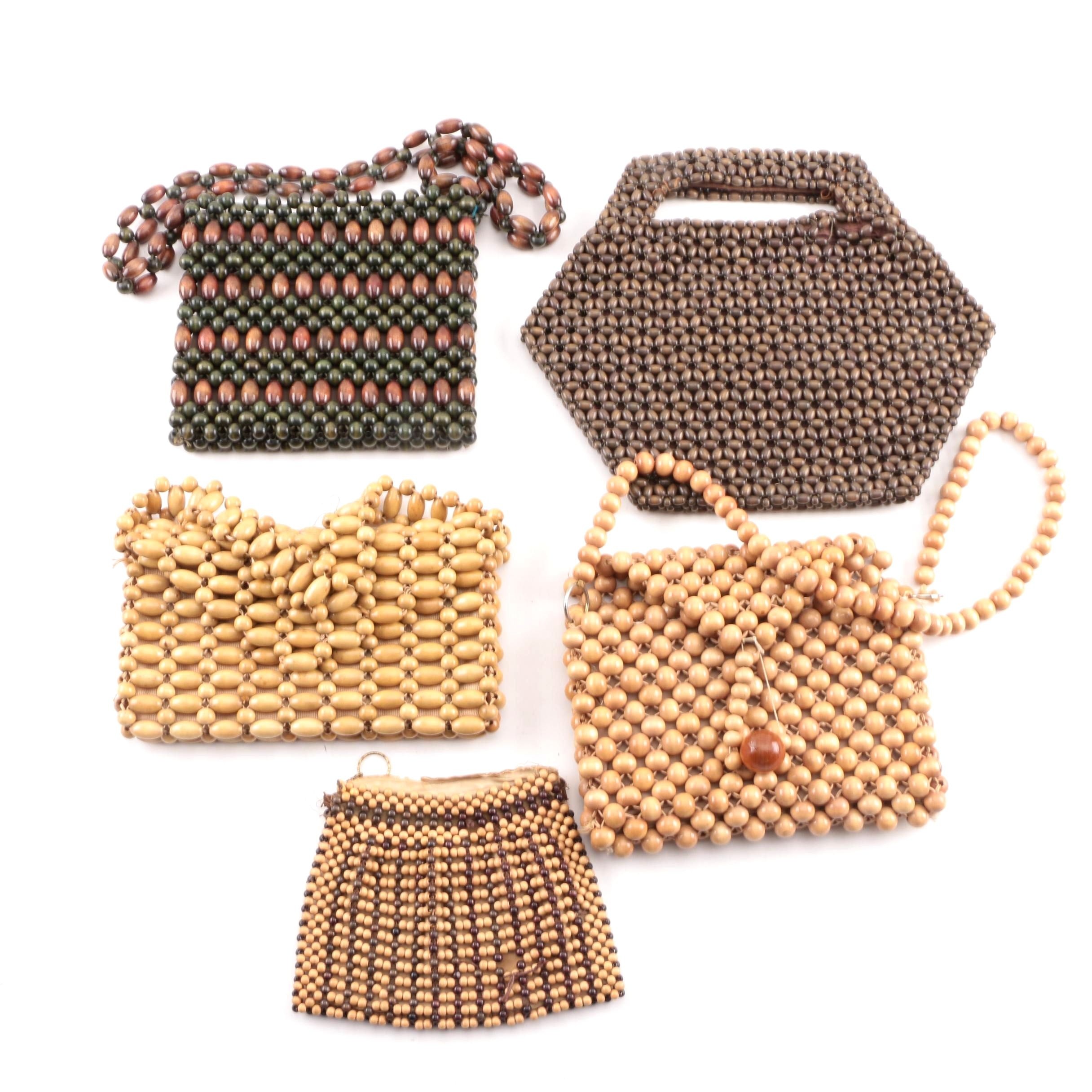 Vintage Wooden Beaded Clutch and Handbags