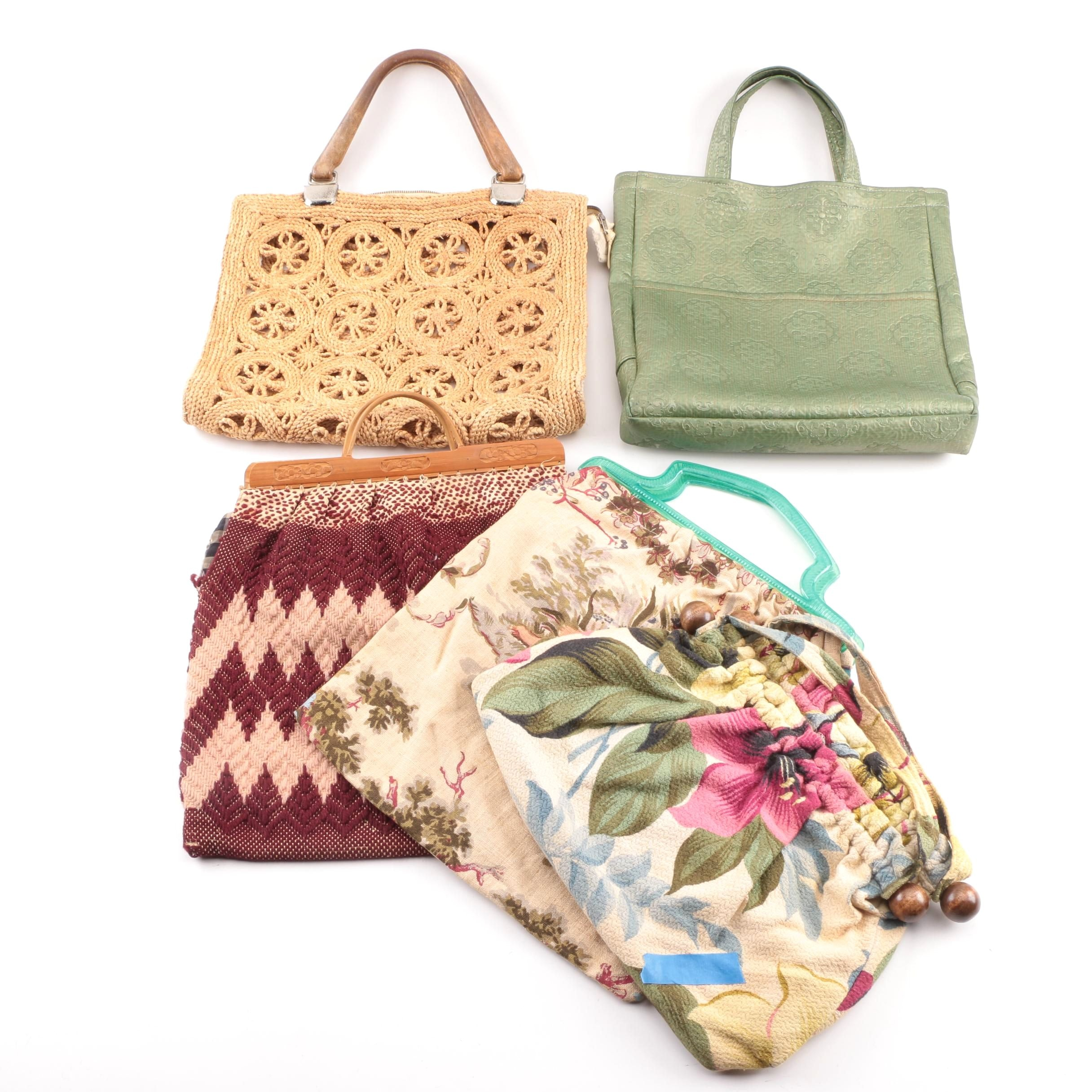 Vintage Woven Straw, Fabric and Vinyl Totes