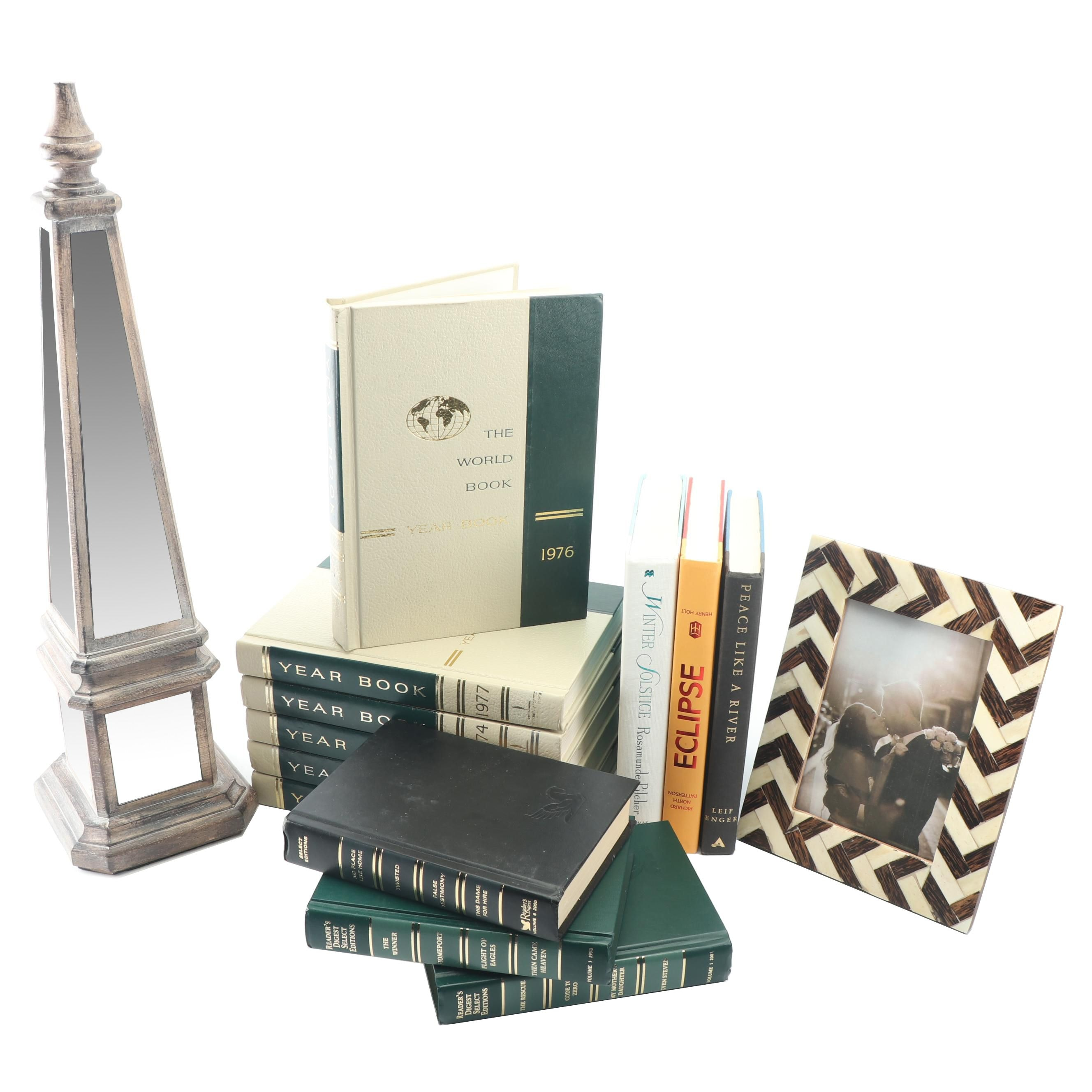 Mirrored Obelisk with Black and White Chevron Frame and Hardcover Books