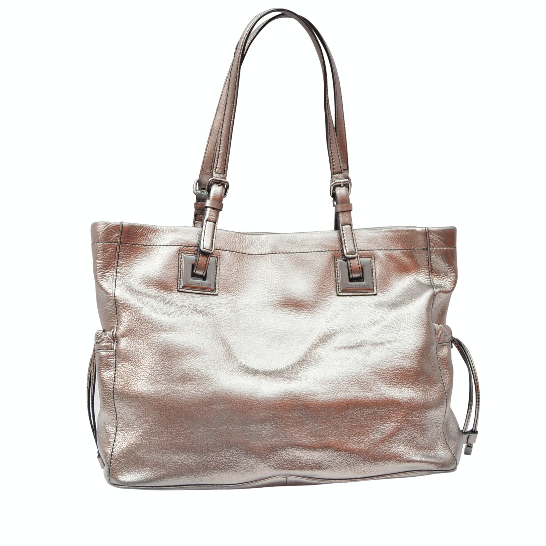 Calvin Klein Metallic Pewter Leather Tote Shoulder Bag