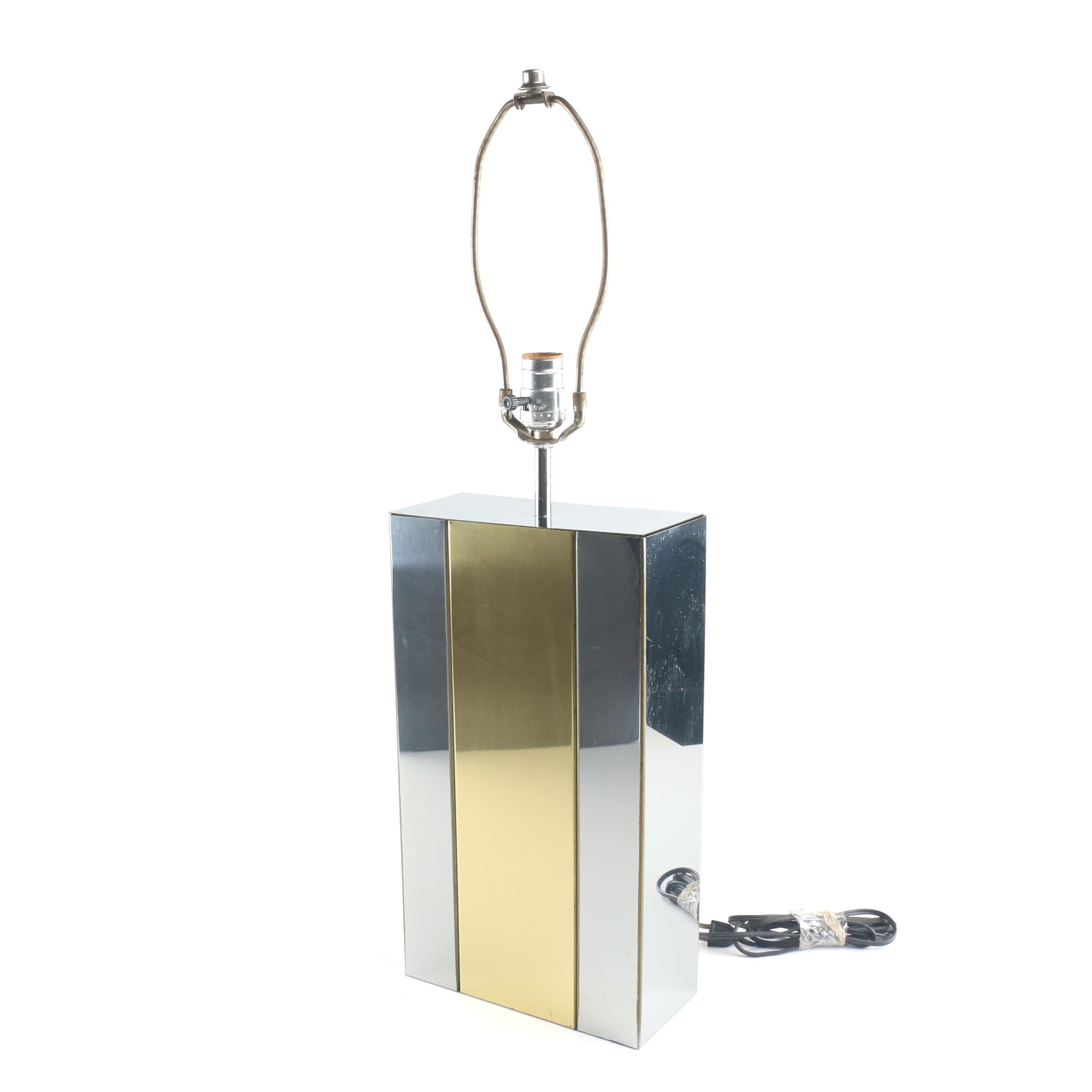 Mid Century Modern Sonneman Silver and Brass Finished Metal Block Table Lamp