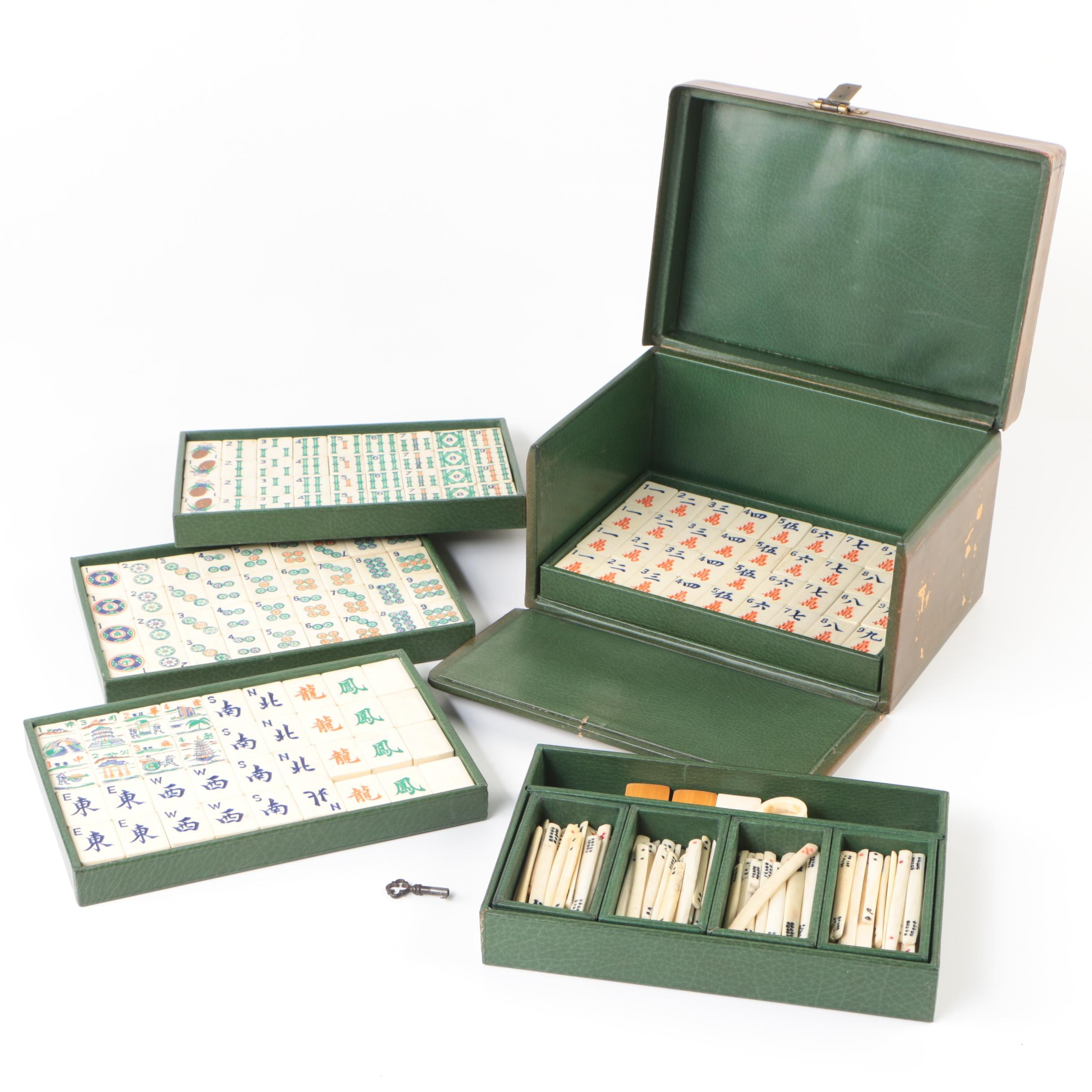Vintage Bone and Bamboo Mahjong Set in Leather Wrapped Case