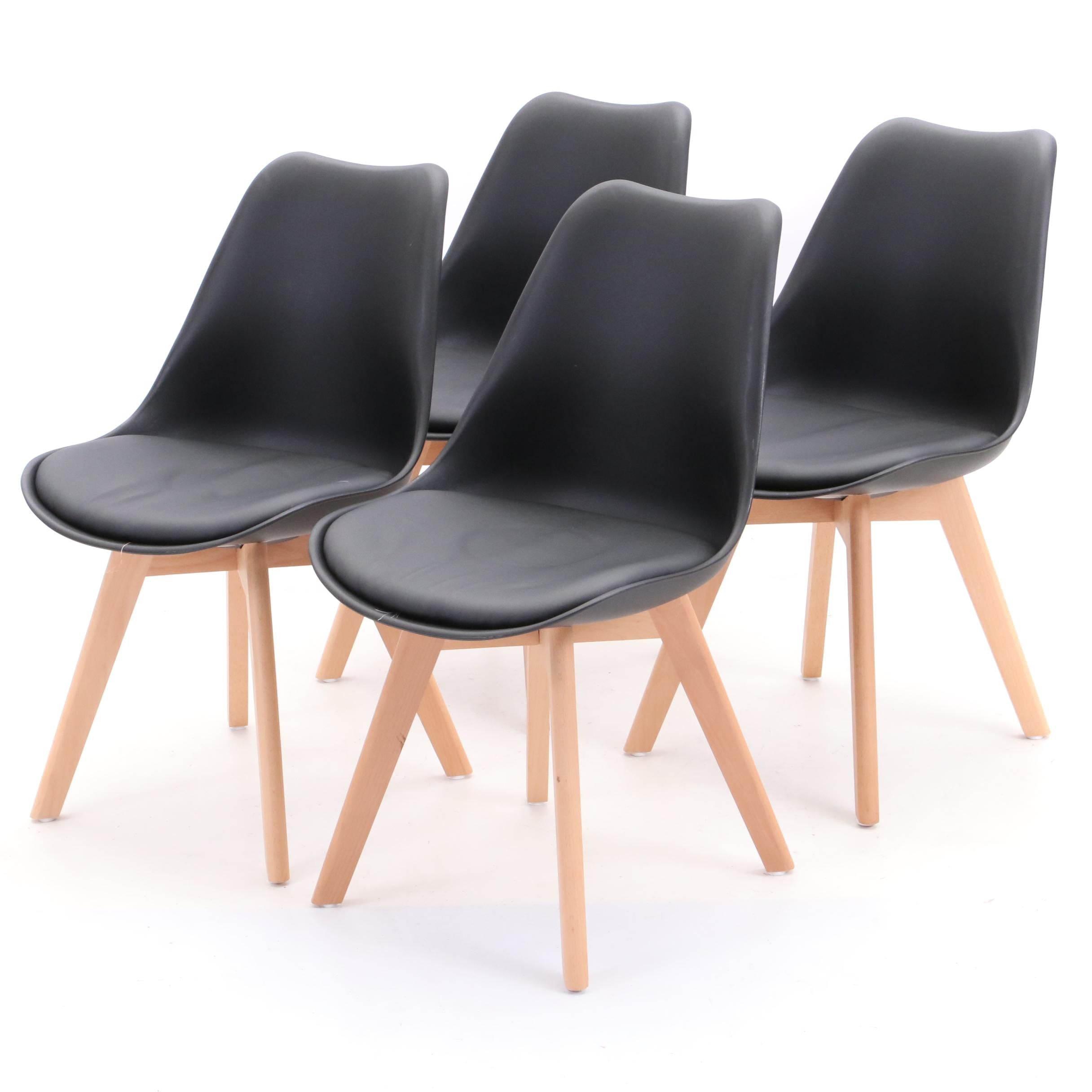Set of Four Black Shell Chairs