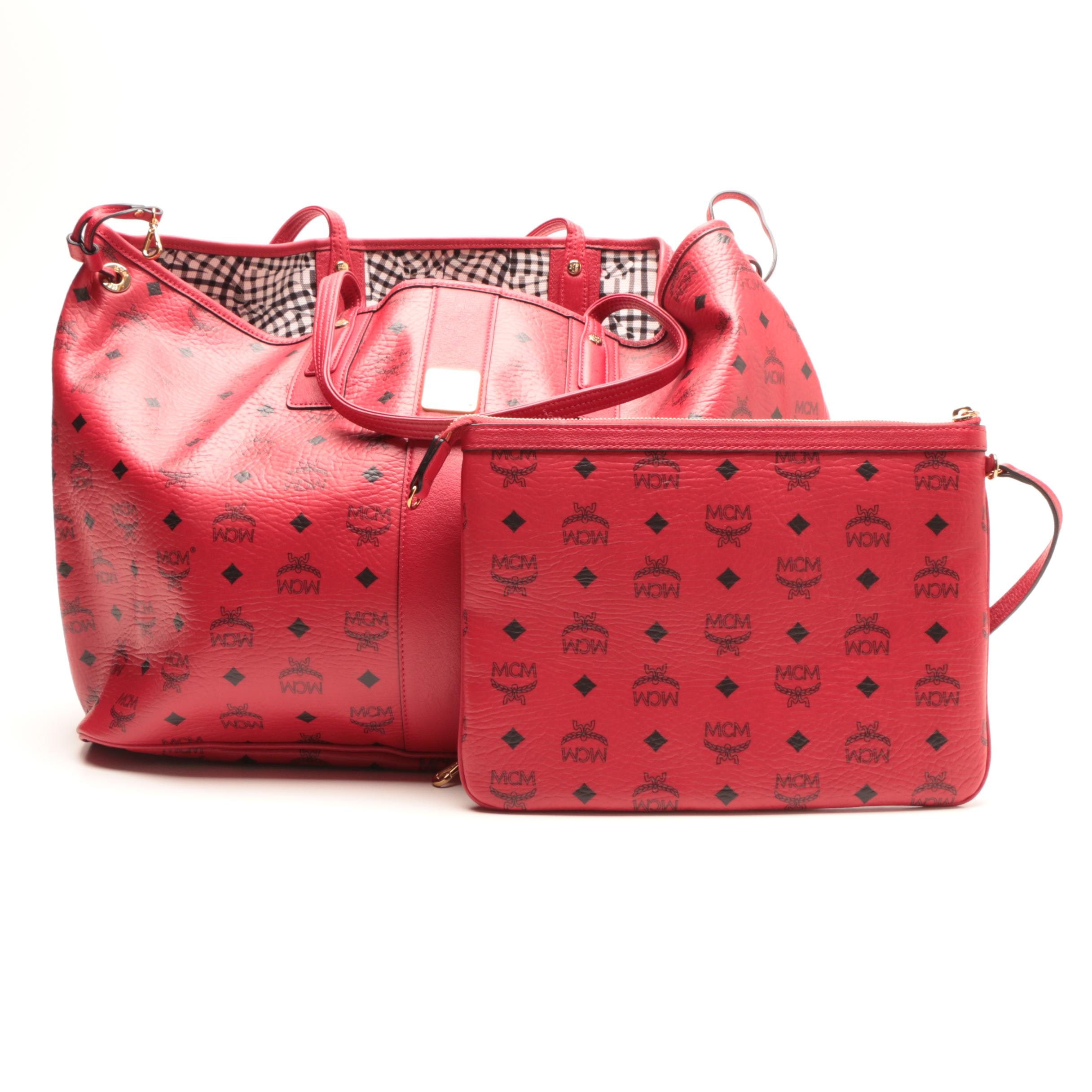 MCM Liz Red Leather and Gingham Reversible Shopper Tote Bag