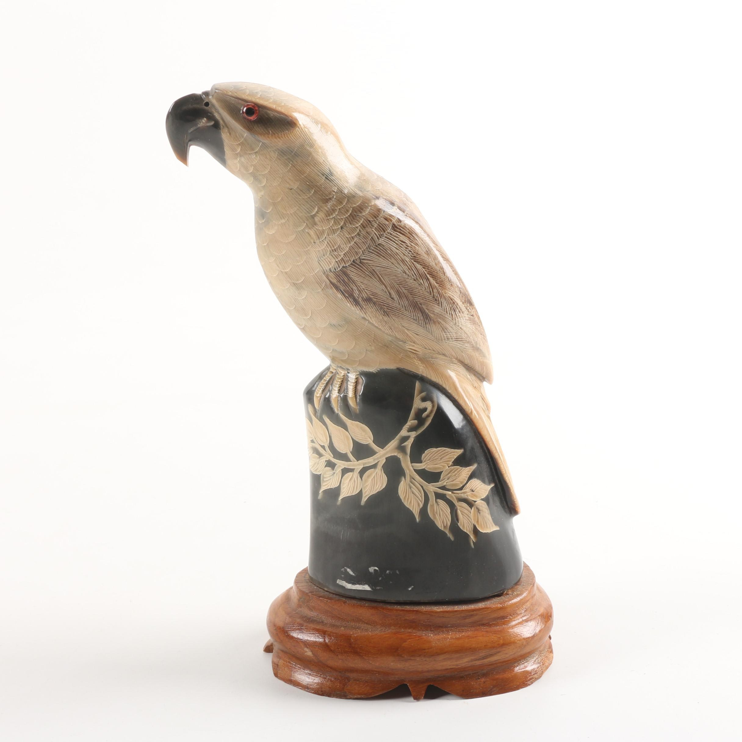 Thai Carved Water Buffalo Horn Parrot