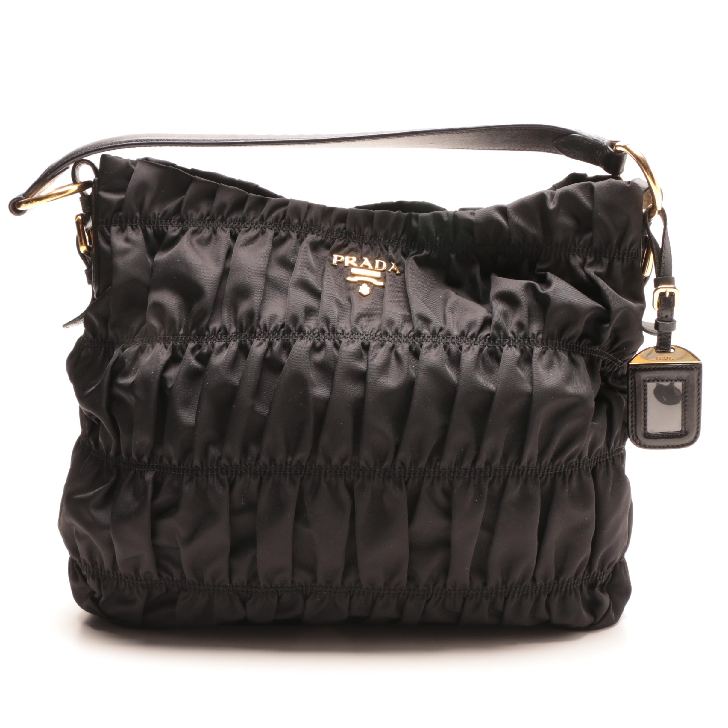 Prada Black Ruched Nylon Shoulder Bag