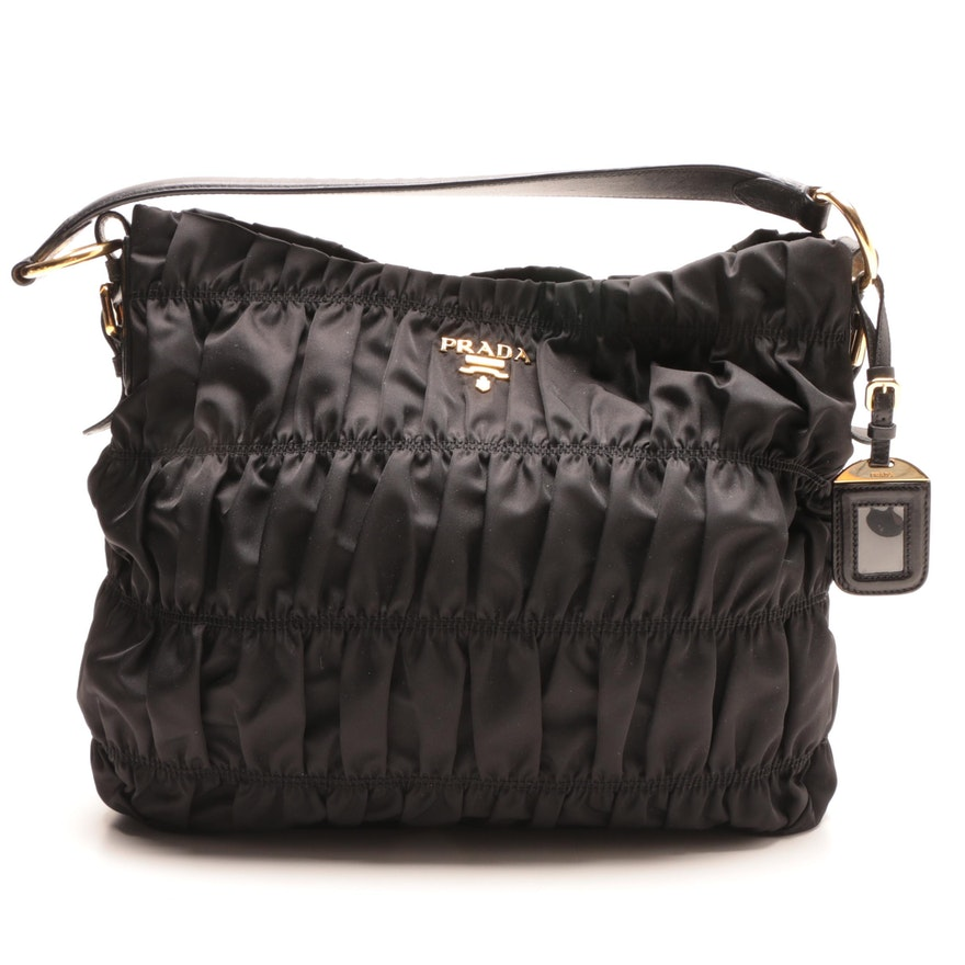 8efab7fe705c Prada Black Ruched Nylon Shoulder Bag   EBTH