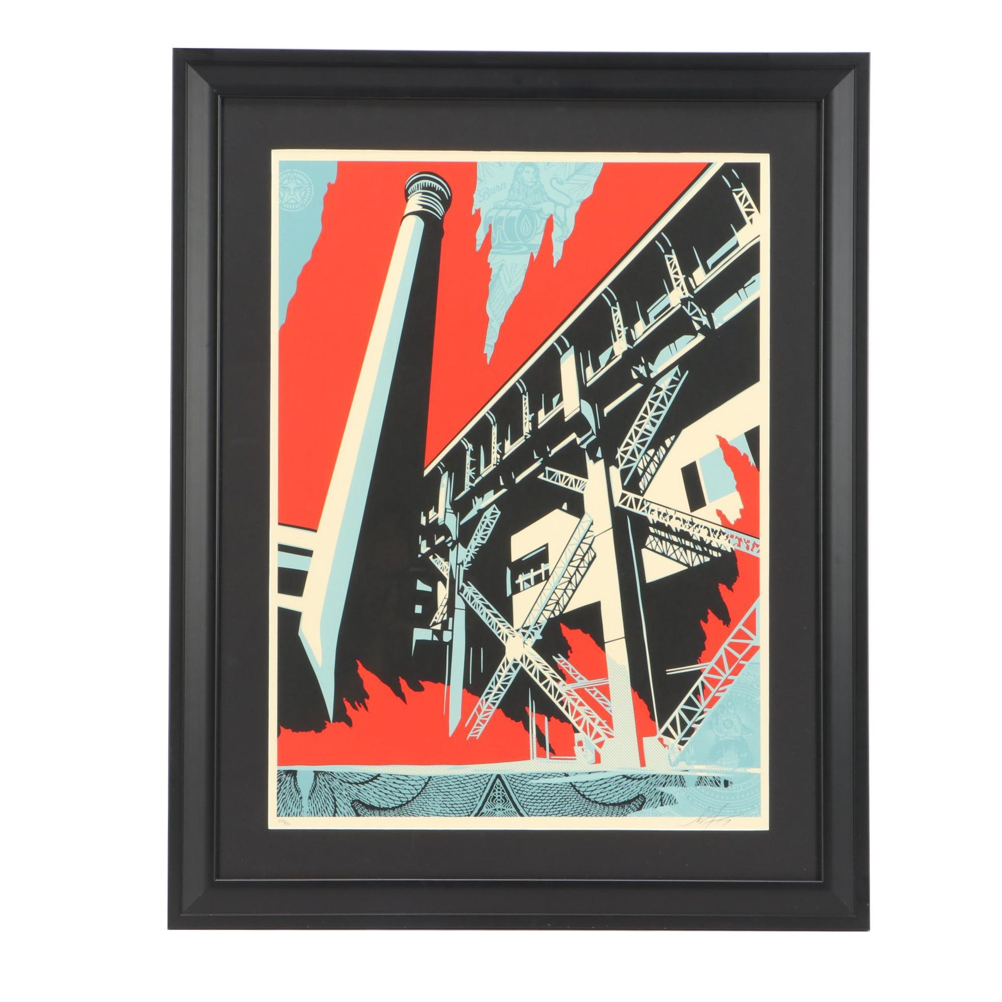 "Shepard Fairey Signed 2017 Limited Edition Screenprint ""Fossil Factory"""