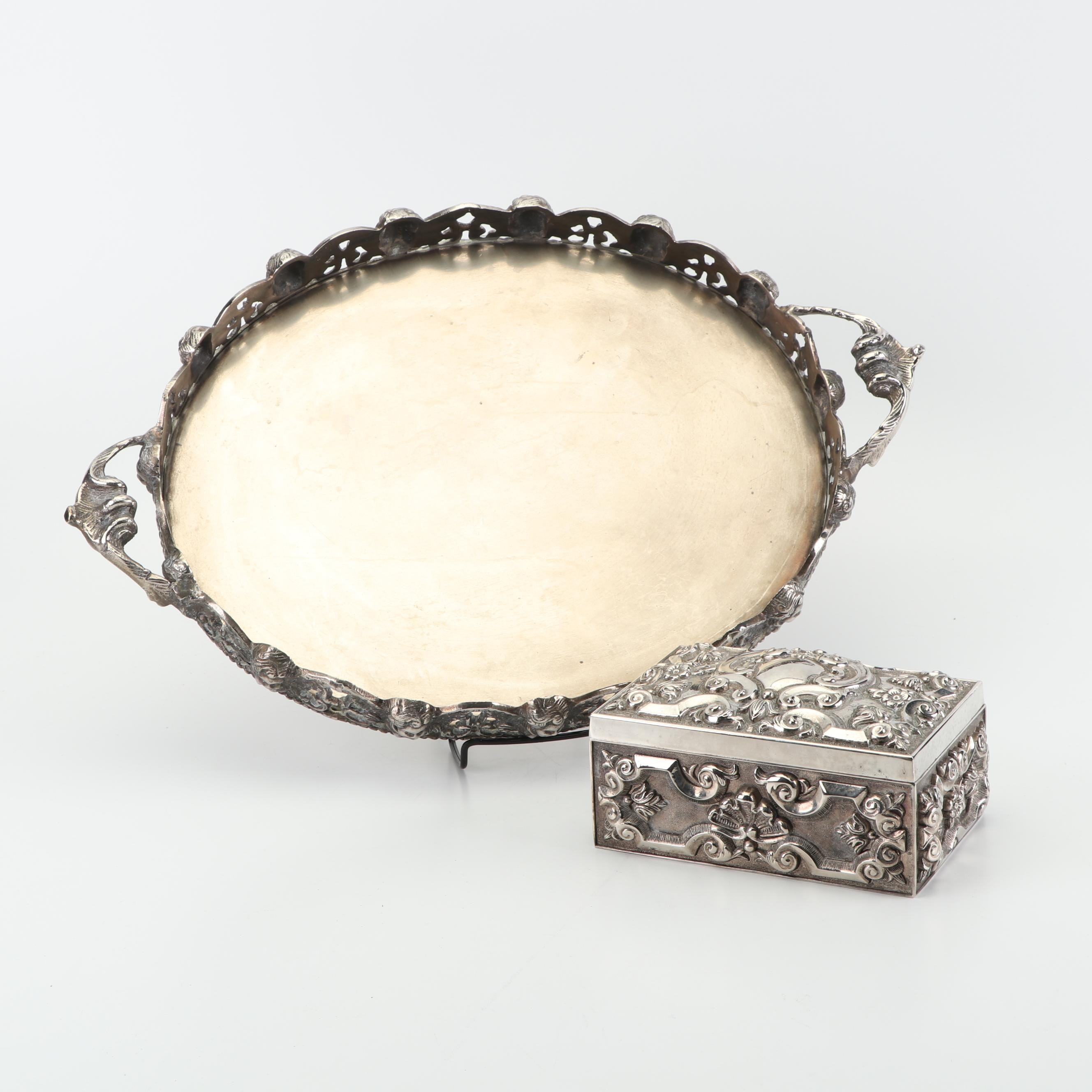 Godinger Silver Art Co. Jewelry Box with Silver Plate Angel Motif Tray