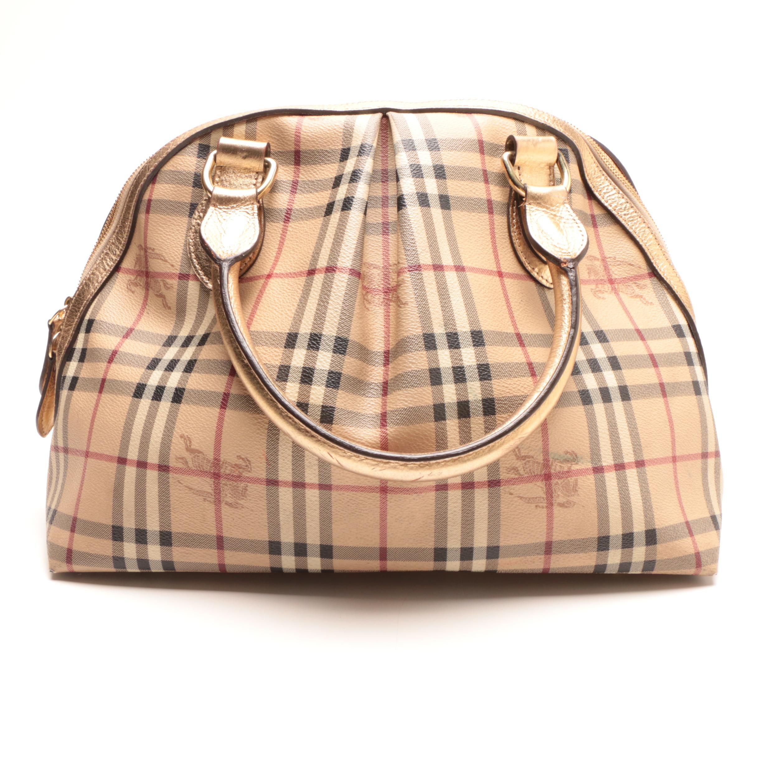 "Burberry ""Haymarket Check"" Thornley Domed Satchel"