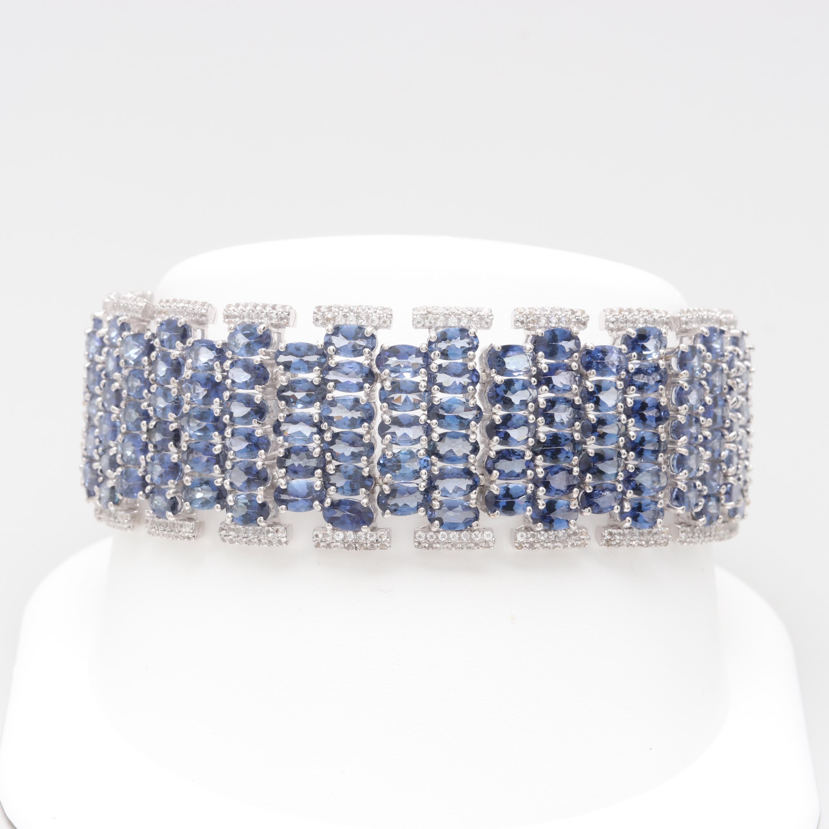 Sterling Silver Tanzanite and White Topaz Bracelet