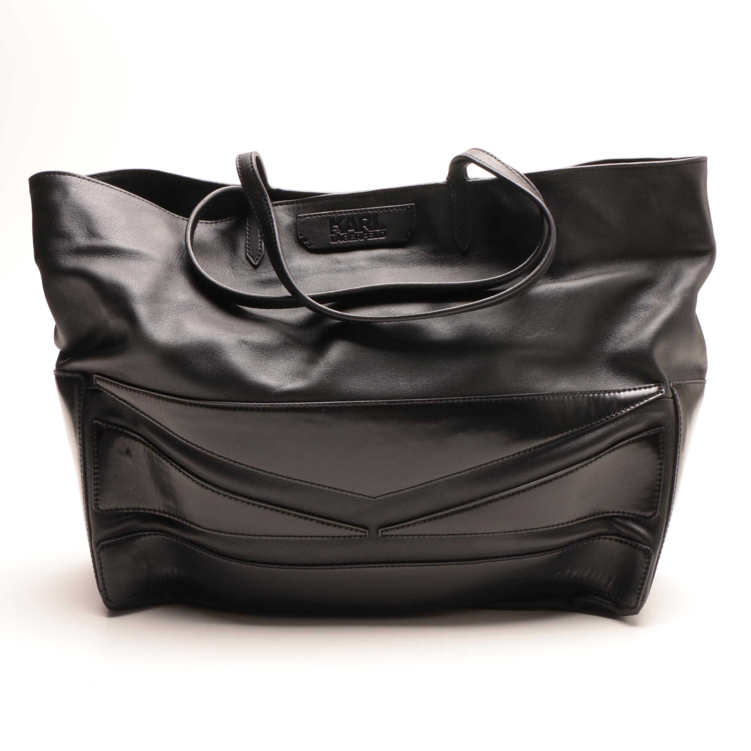 Karl Lagerfeld Black Leather Tote Bag