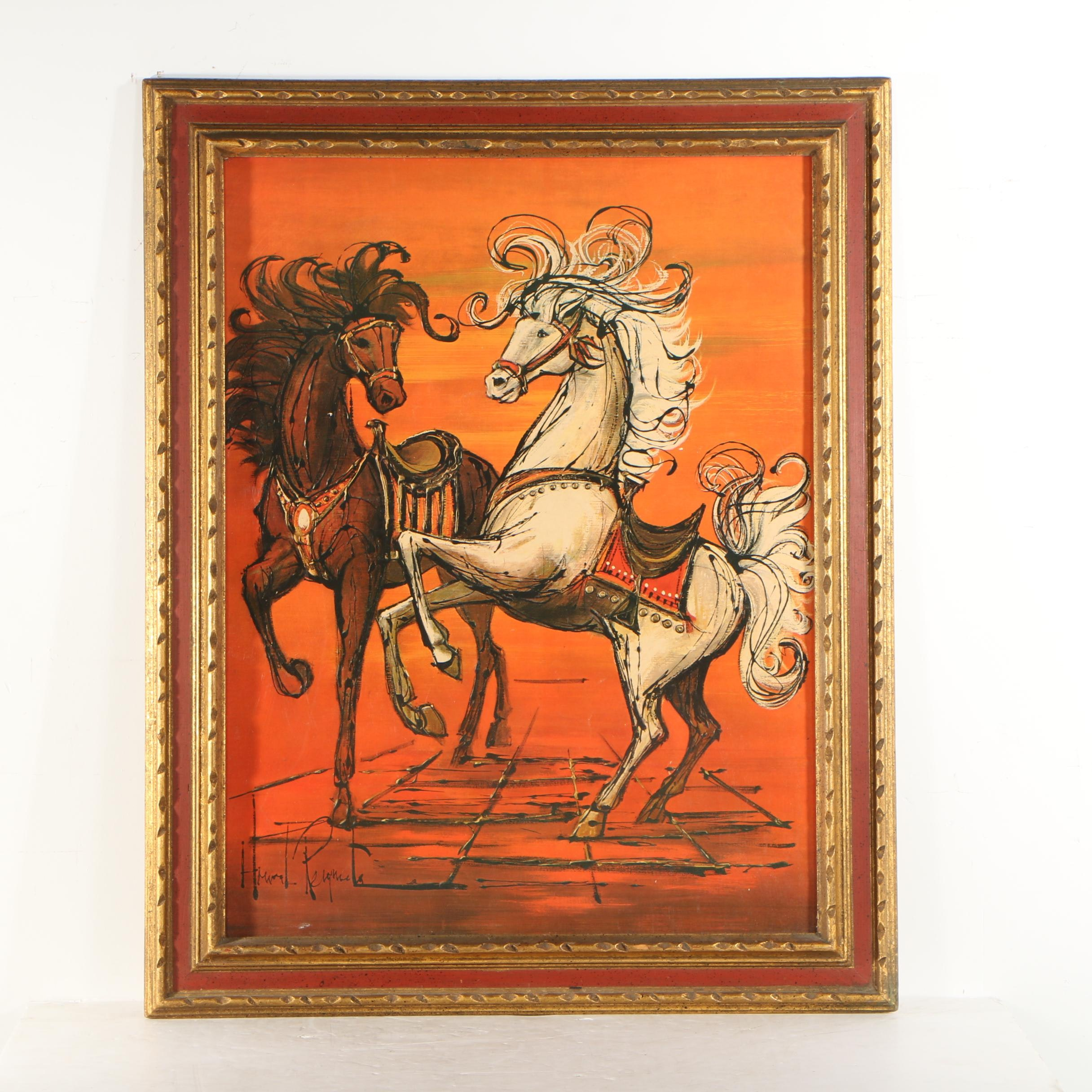 Offset Lithograph of Horses