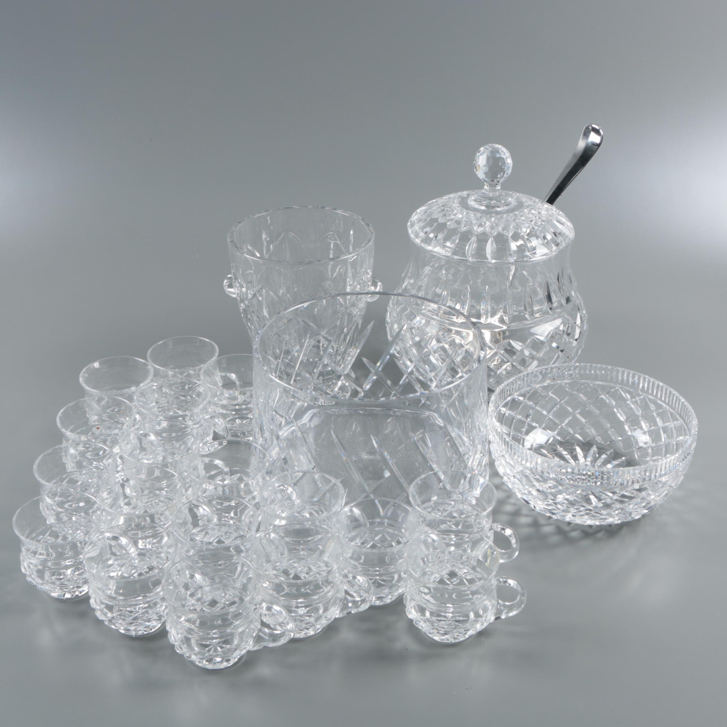 Crystal Punch Set with Cups and Cut Crystal Serveware With Waterford Crystal