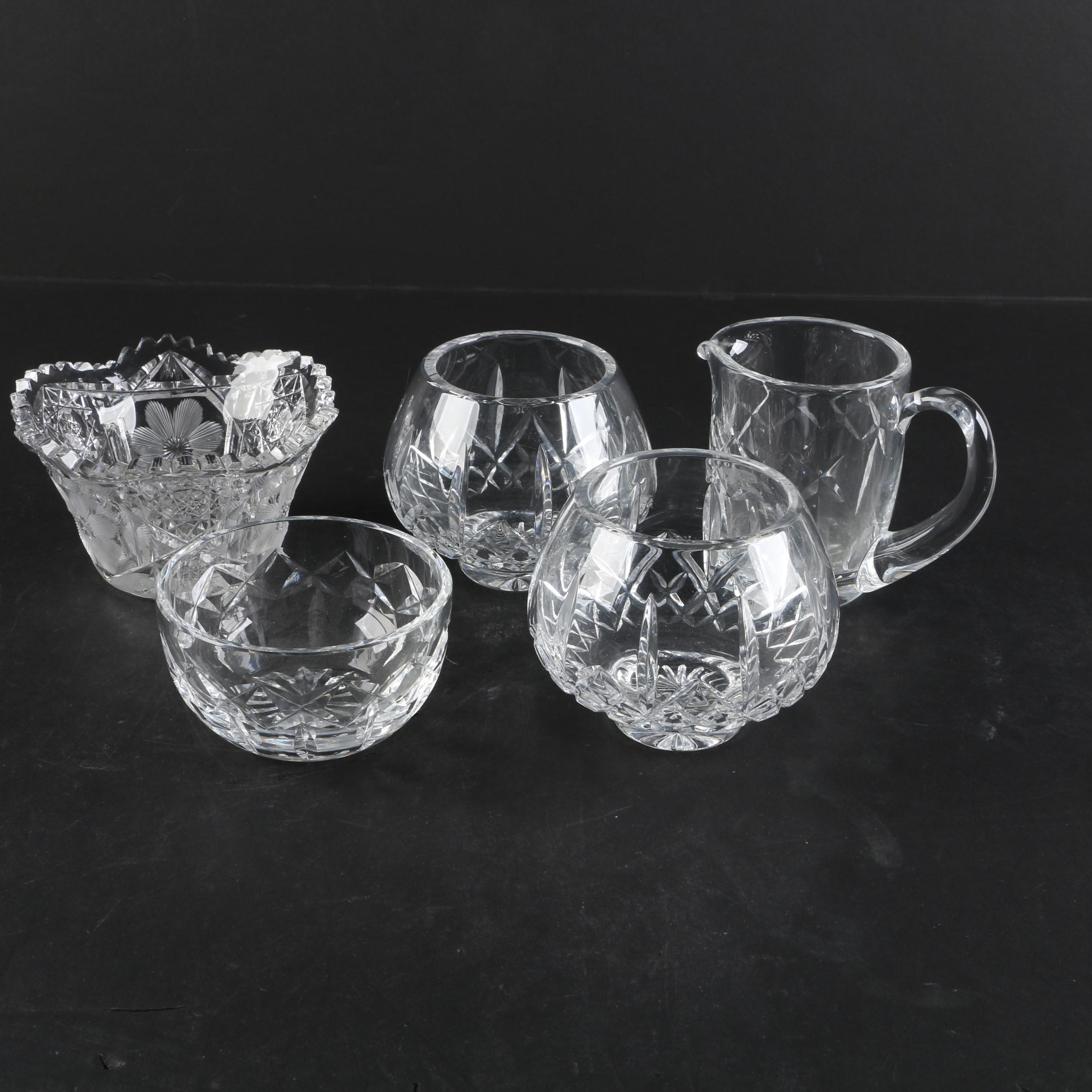 "Waterford Crystal ""Kerry"" Creamer and Sugar with Cut Crystal Bowls"