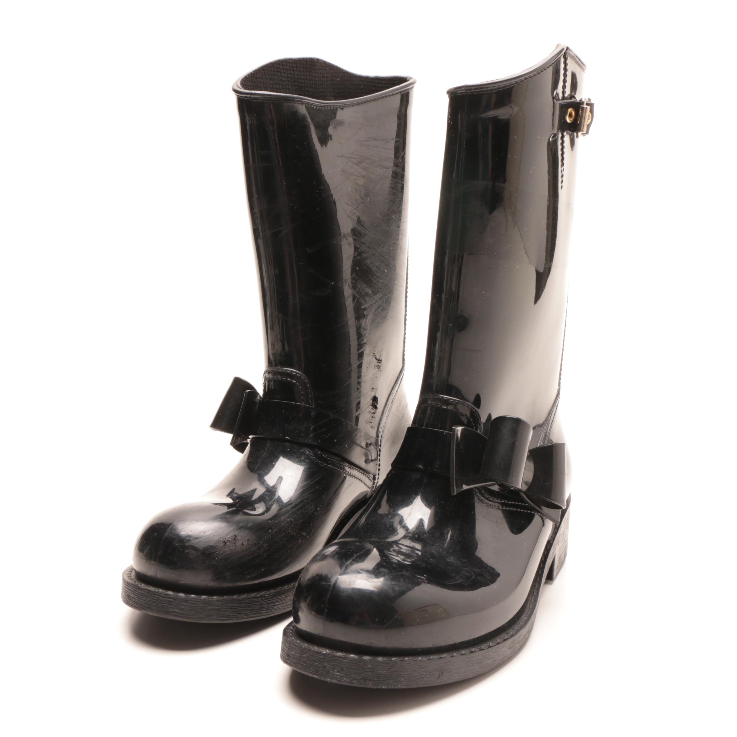Red Valentino Black Bow Moto Rain Boots