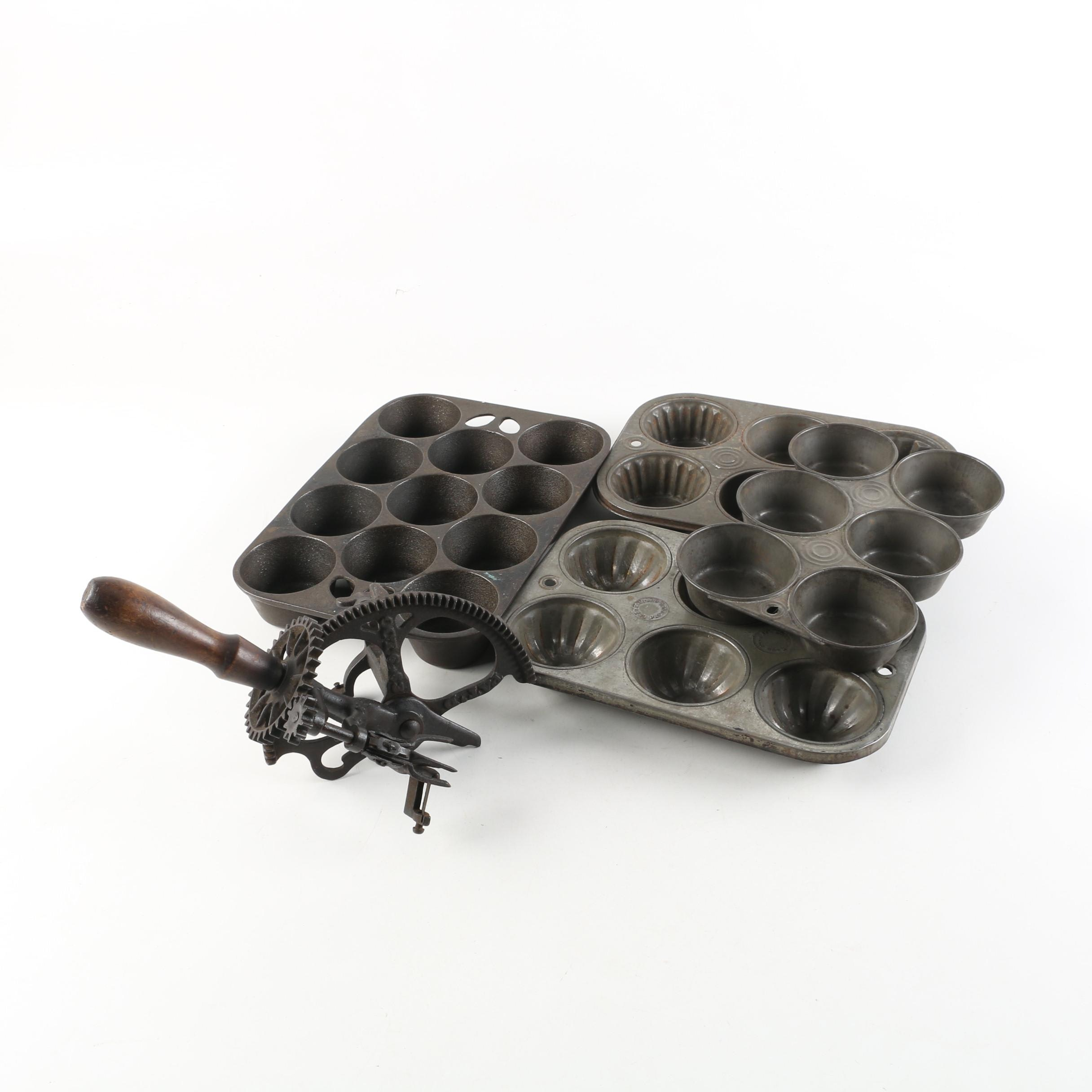 Vintage Wagner Cast Iron Muffin Pan, an Antique Apple Peeler, and Other Bakeware