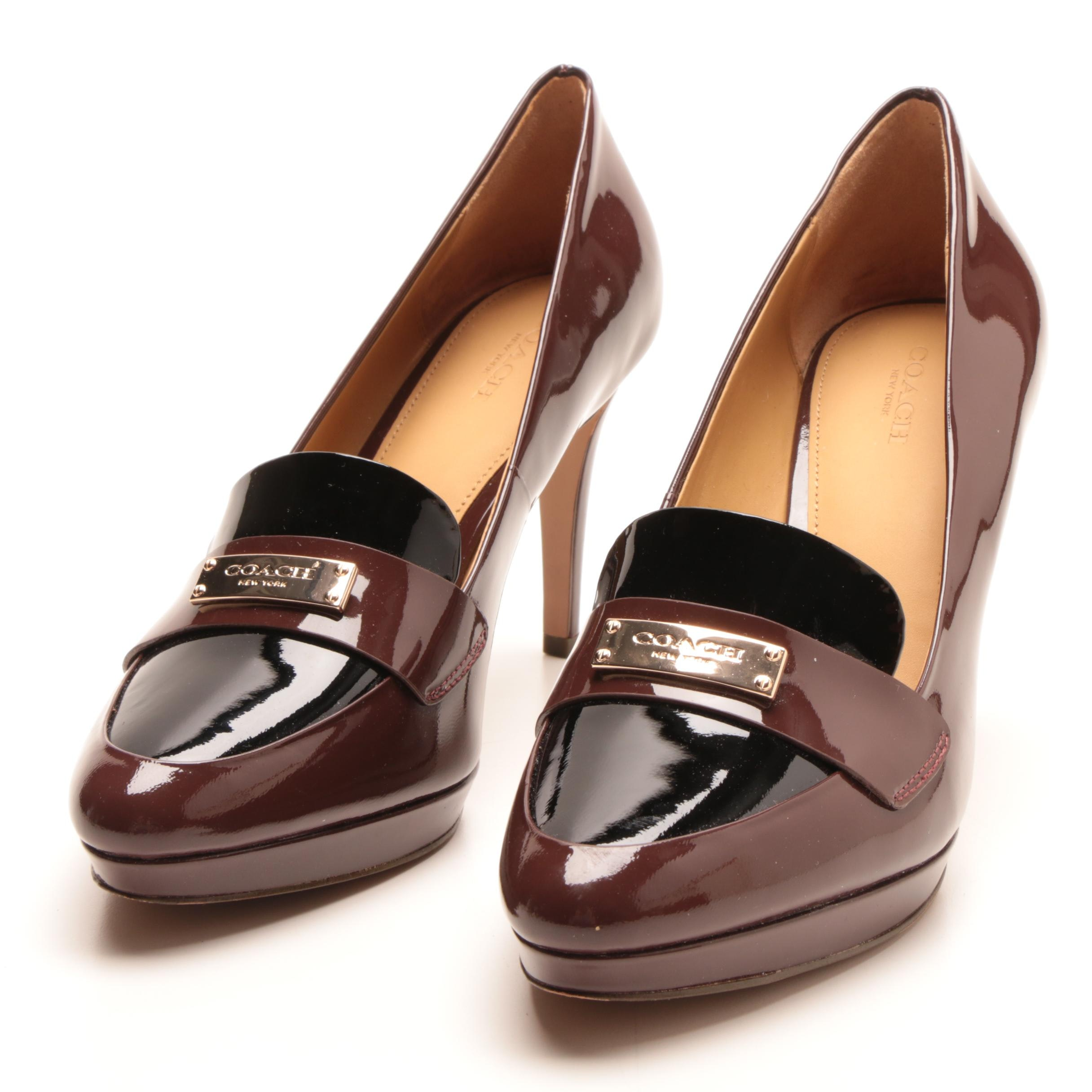 Coach New York Garnet Patent High Heels