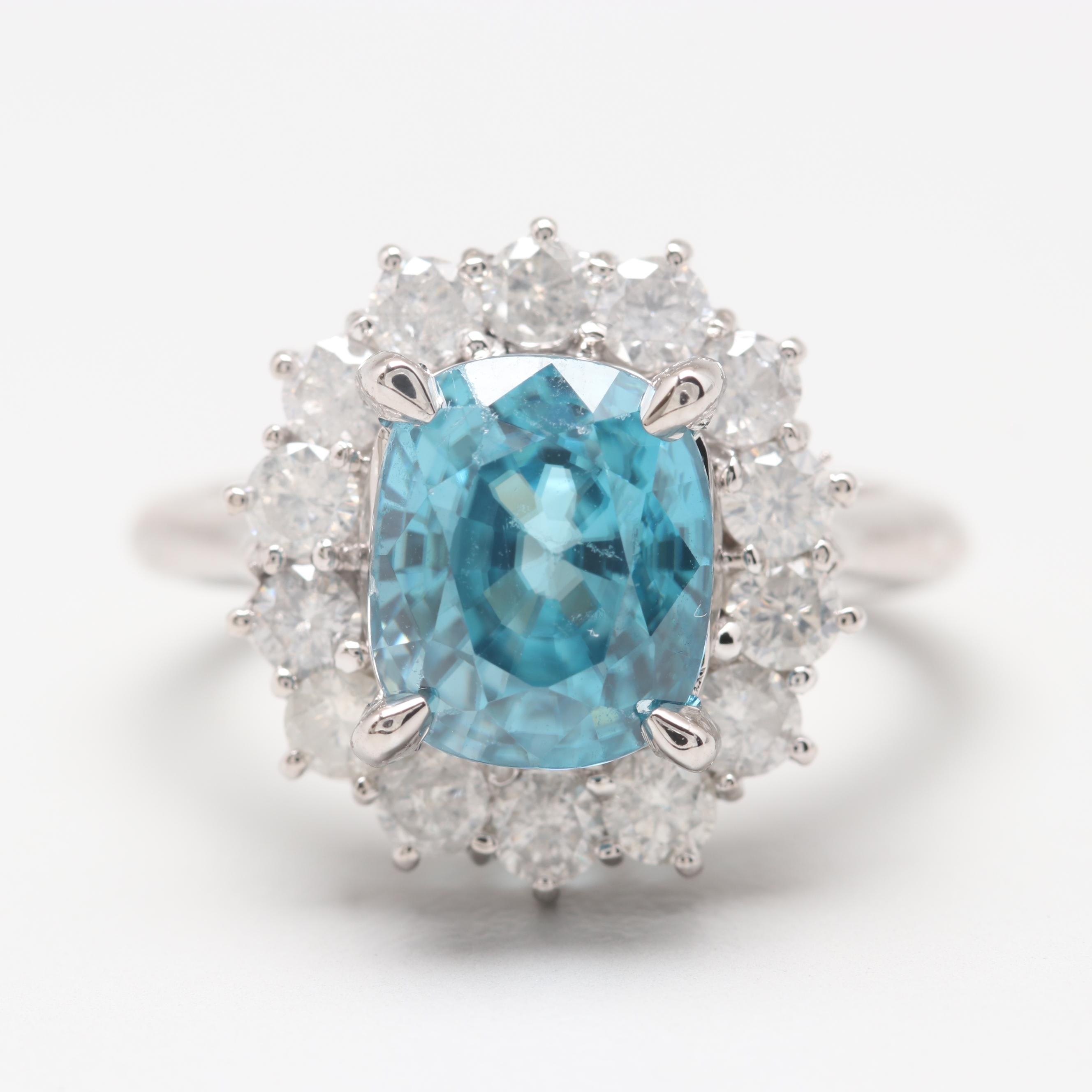 14K White Gold 5.21 CT Blue Zircon and Diamond Ring
