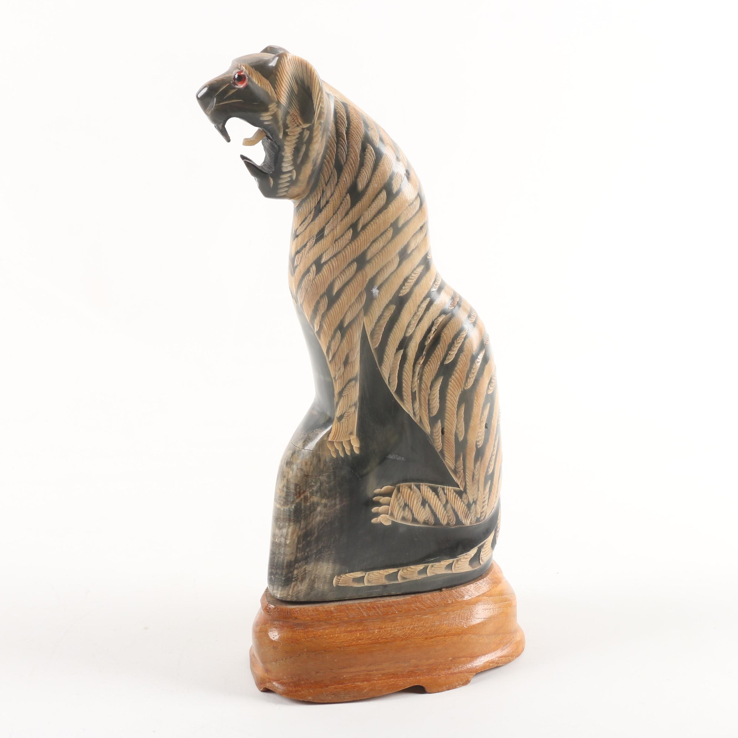 "Michelle Int. Ltd. ""Ning"" Thai Water Buffalo Horn Carving of Tiger"