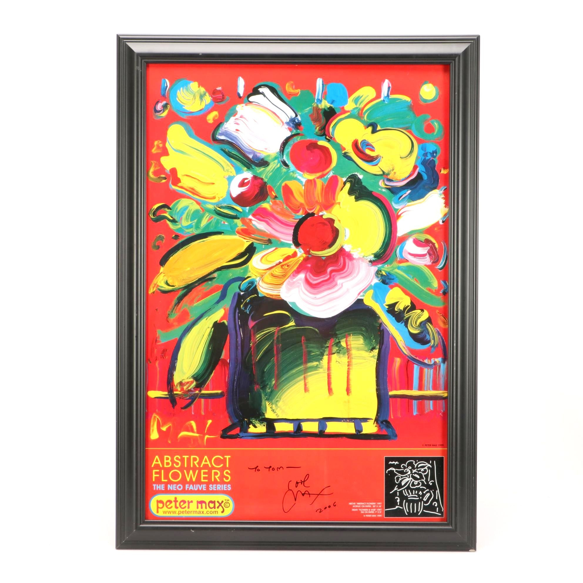 "Autographed Peter Max Poster ""Abstract Flowers: The Neo Fauve Series"""