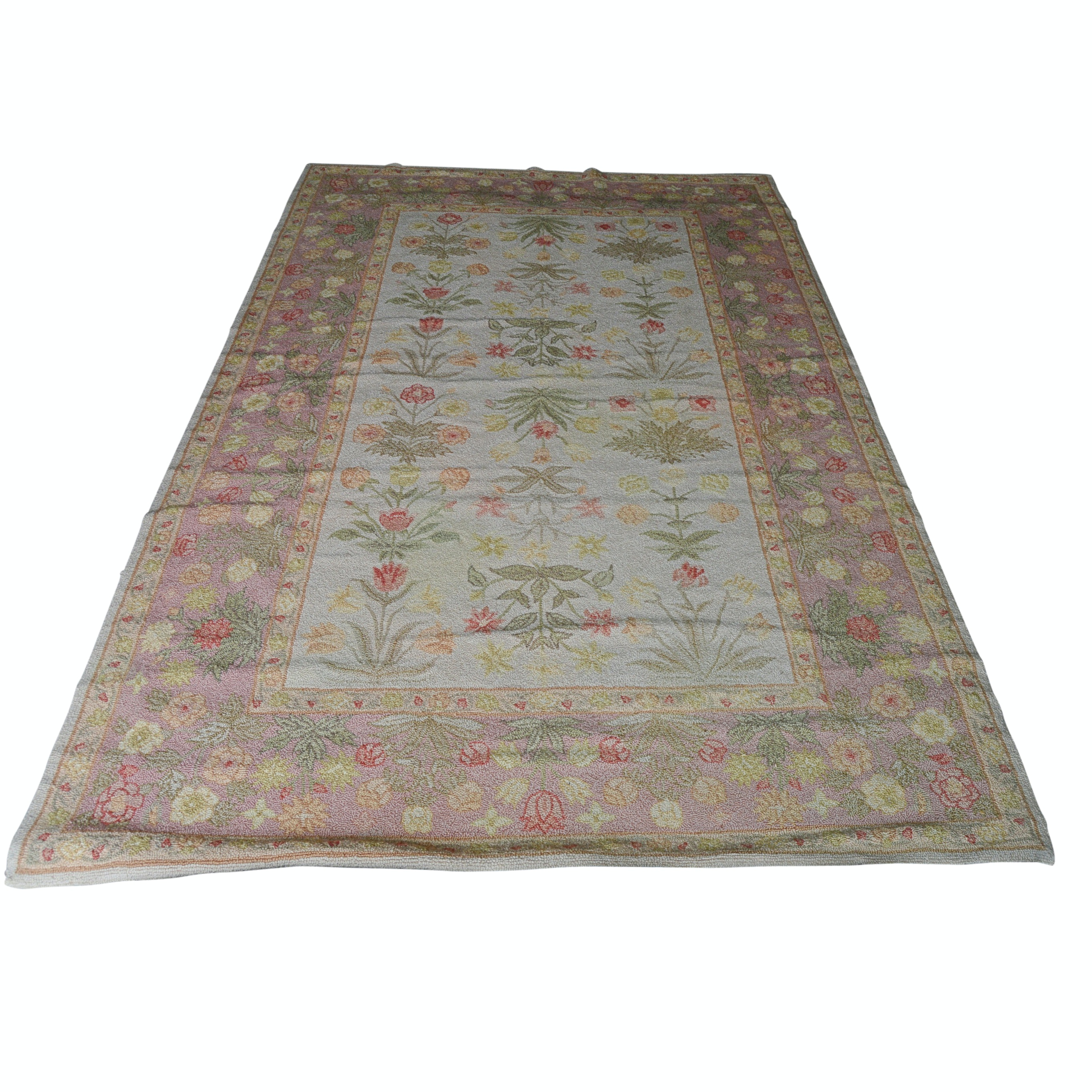 Chinese Hooked Wool Floral Area Rug from The Rug Gallery