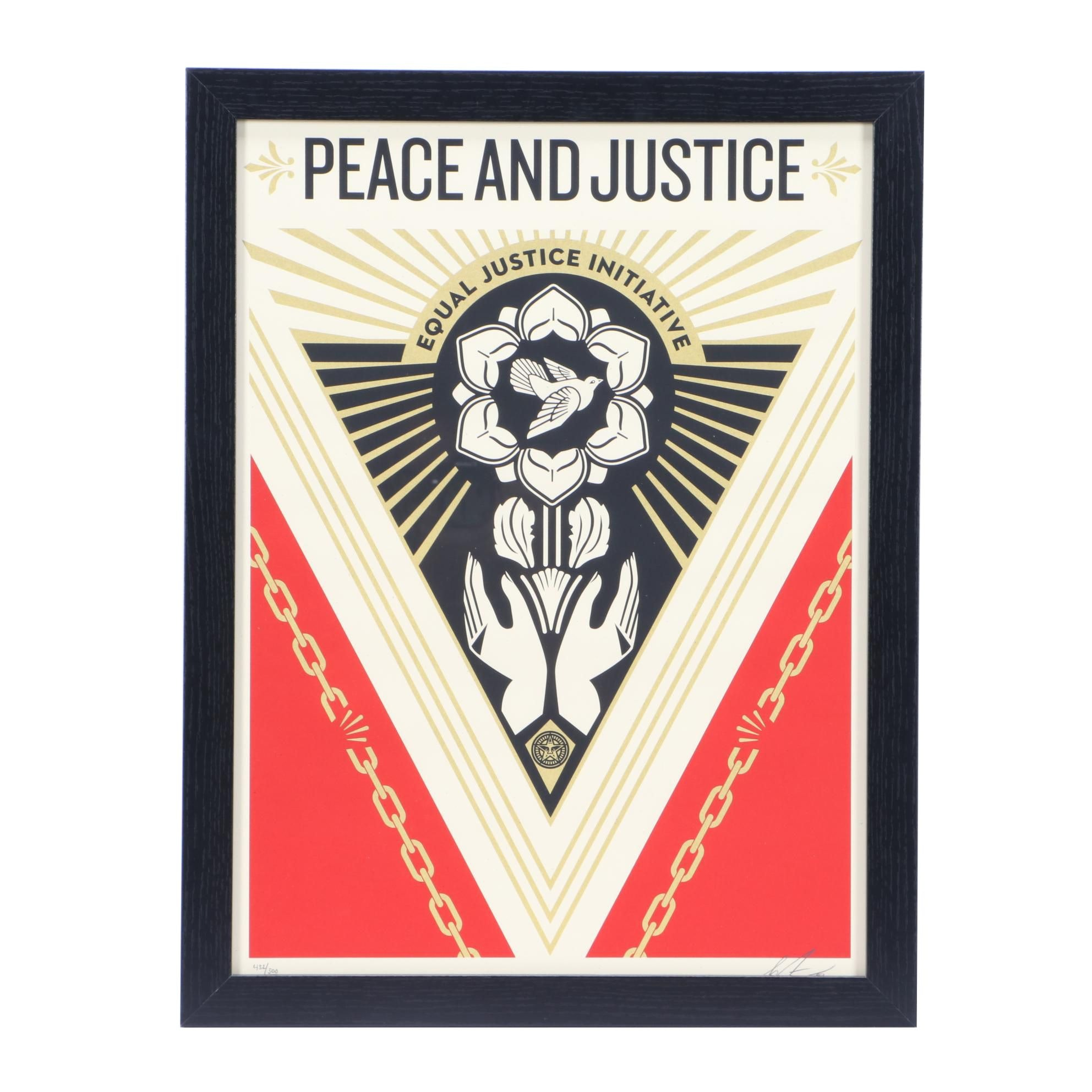 "Shepard Fairey Signed 2018 Limited Edition Screenprint ""Peace & Justice Summit"""