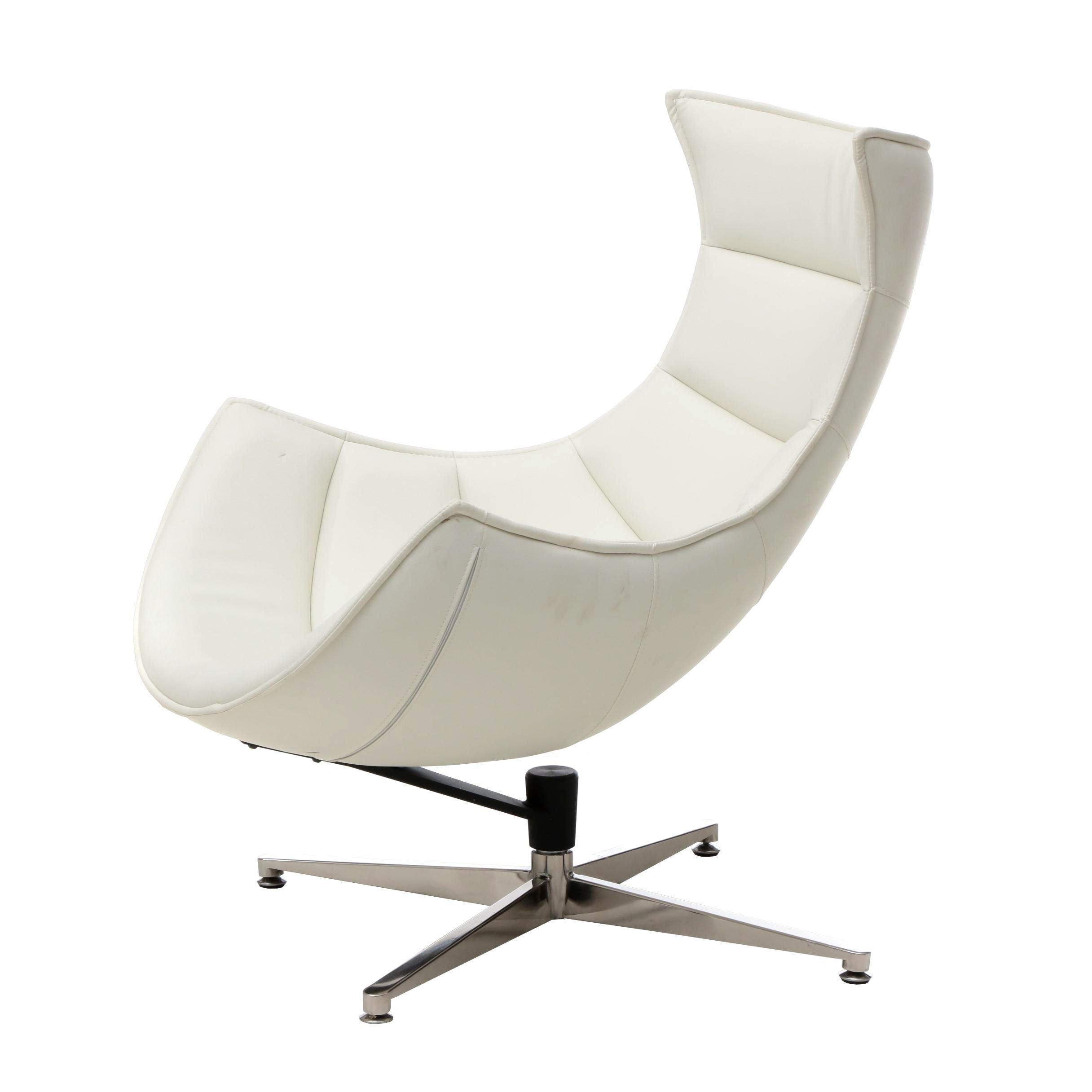 Contemporary Modern White  Vinyl Egg Chair