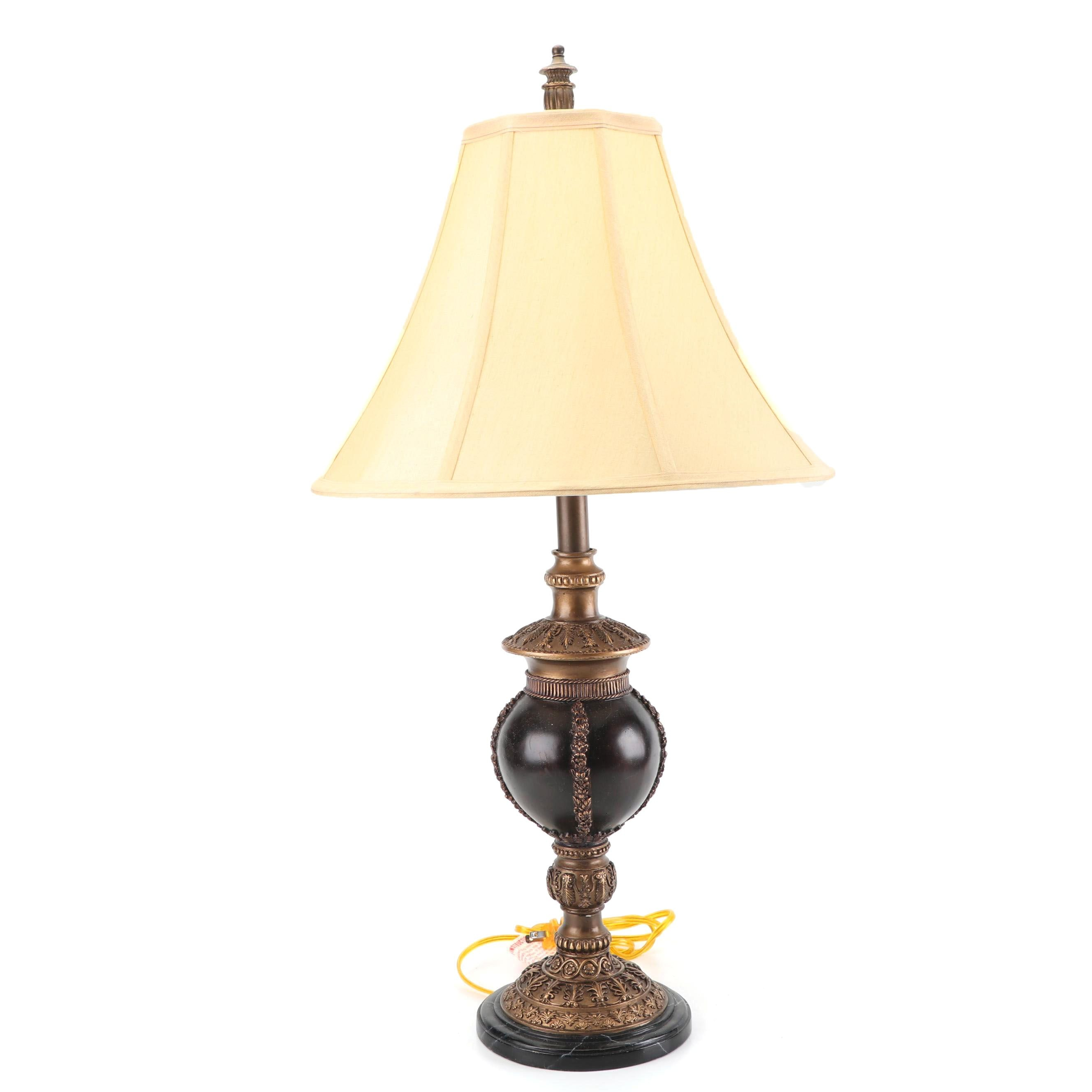 Black Sphere and Bronze Accents Resin Table Lamp