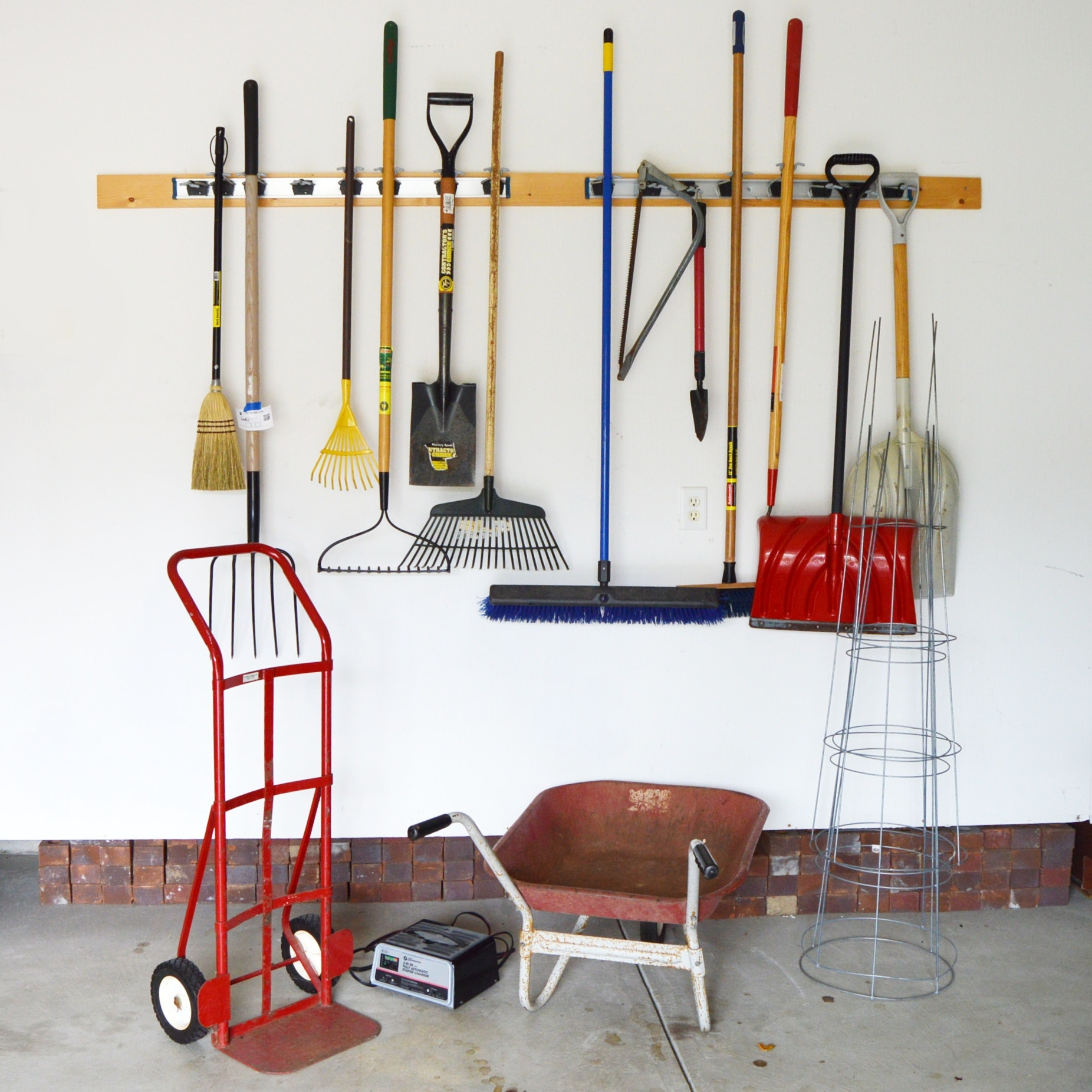 Lawn and Garden Tools, Battery Charger, Wheel Cart and Wheelbarrow