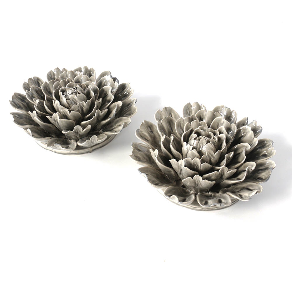 Grey Ceramic Chrysanthemum Wall Accents