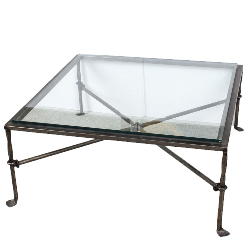 Contemporary Glass Top Metal Frame Coffee Table