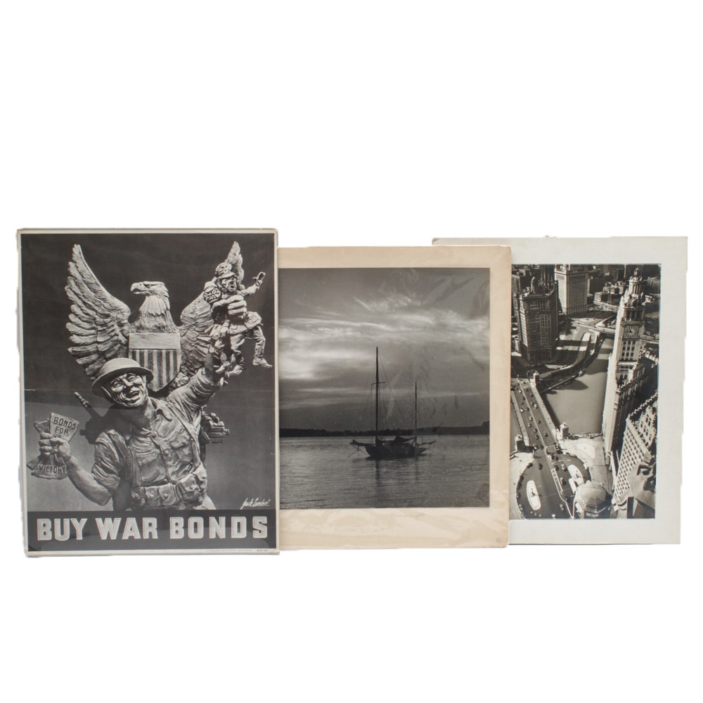 1942 War Bonds Poster with Vintage Black-and-White Photographs