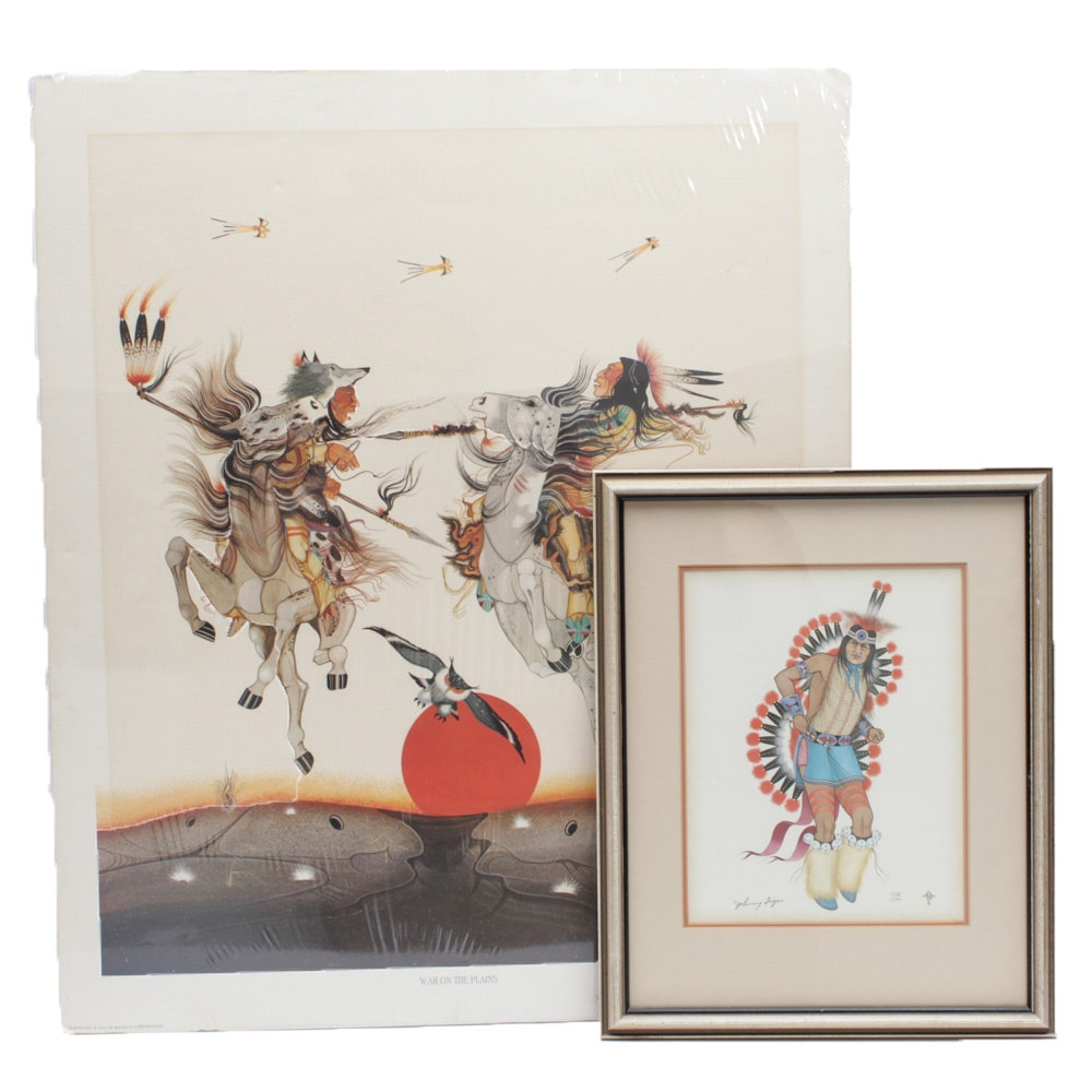 Vintage Native American Themed Offset Lithographs
