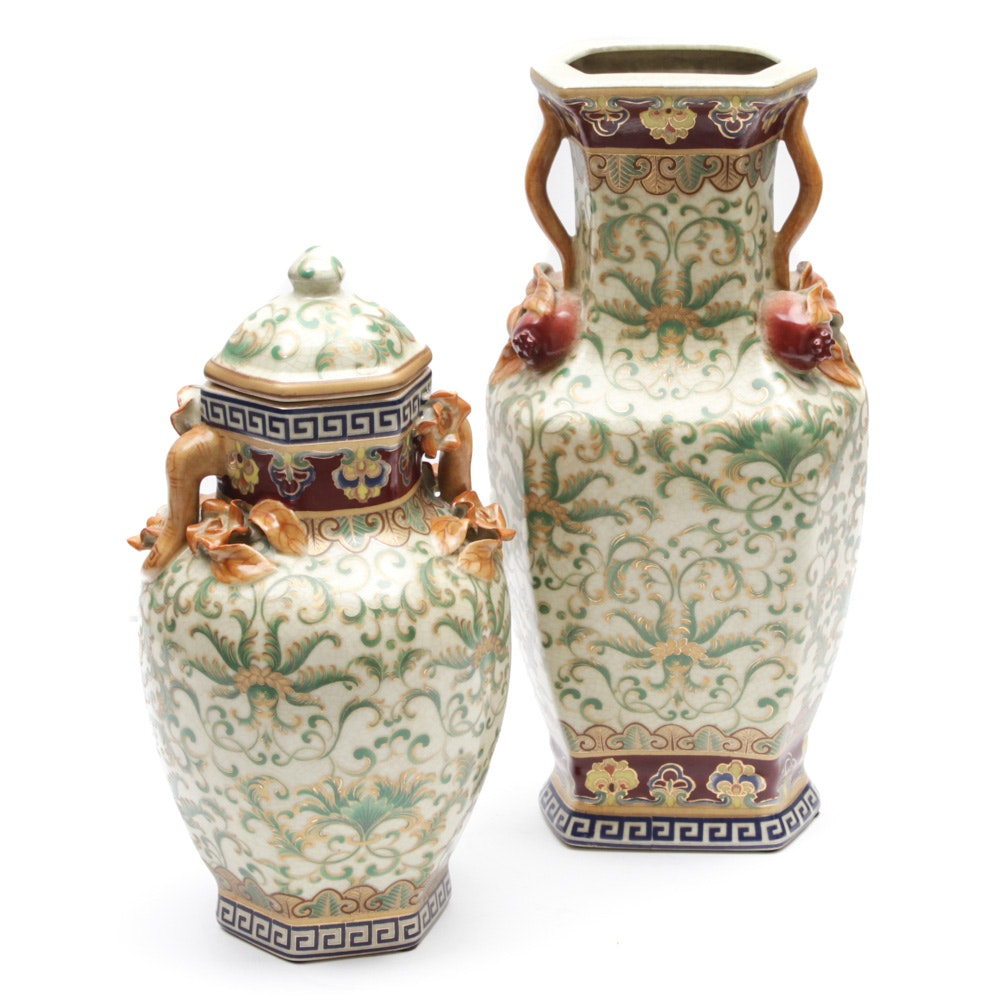 Chinese Vase and Lidded Jar